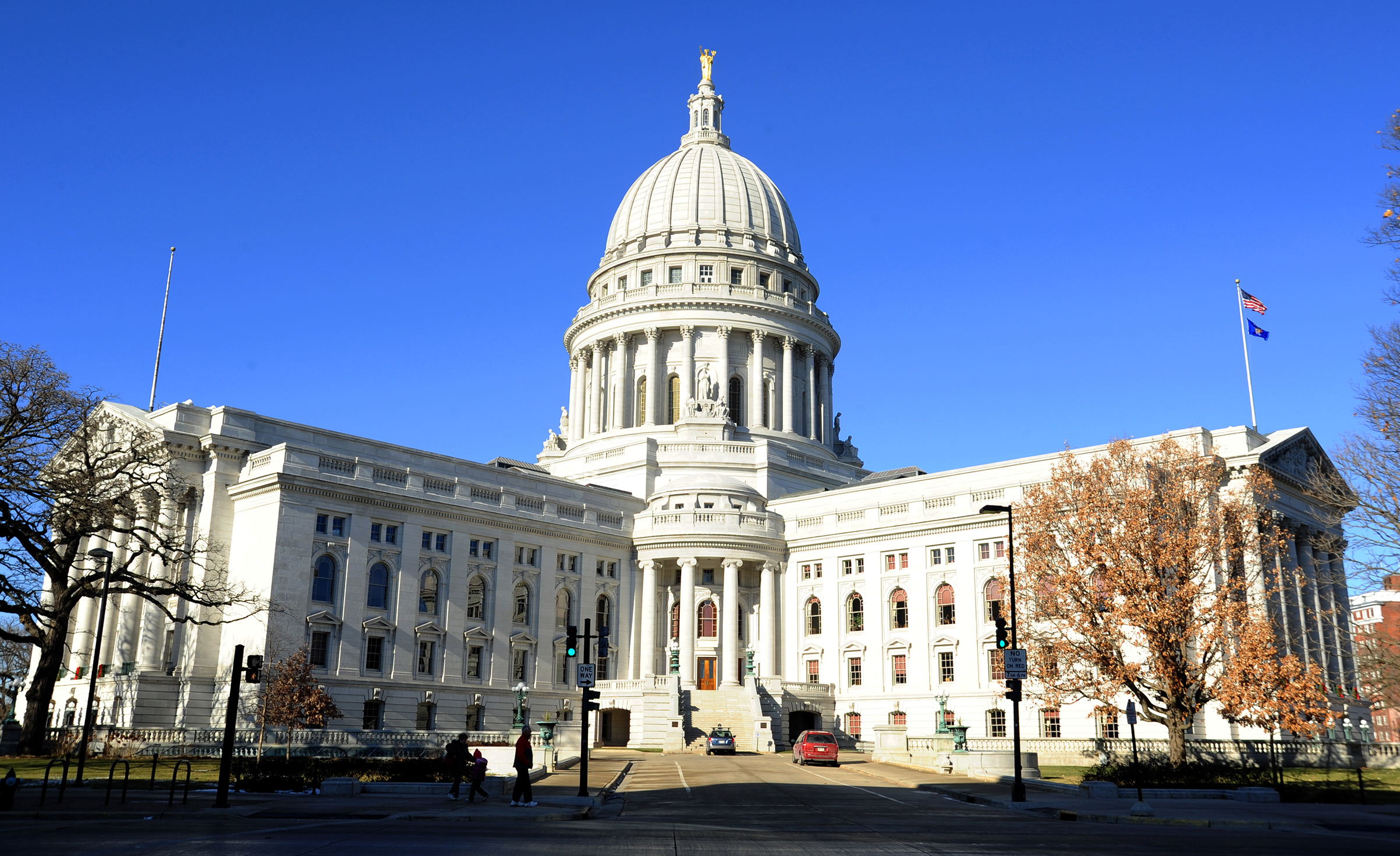 The Wisconsin State Capitol building on Madison, Wisconsin on Dec. 24, 2011.
