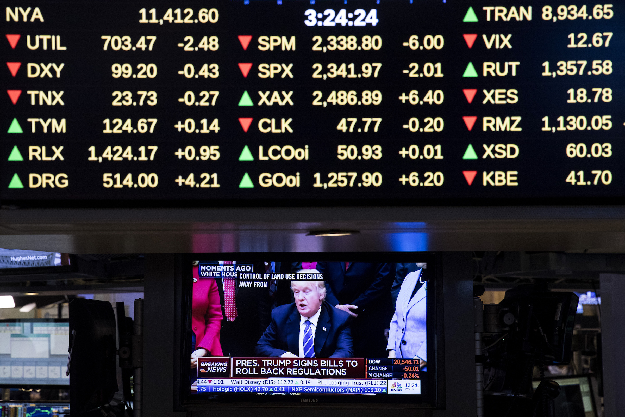 A television monitor shows President Donald Trump after he signed four bills that reverse Obama-era regulations and rules on education, land use and federal purchasing, on the floor of the New York Stock Exchange on March 27, 2017 in New York City.