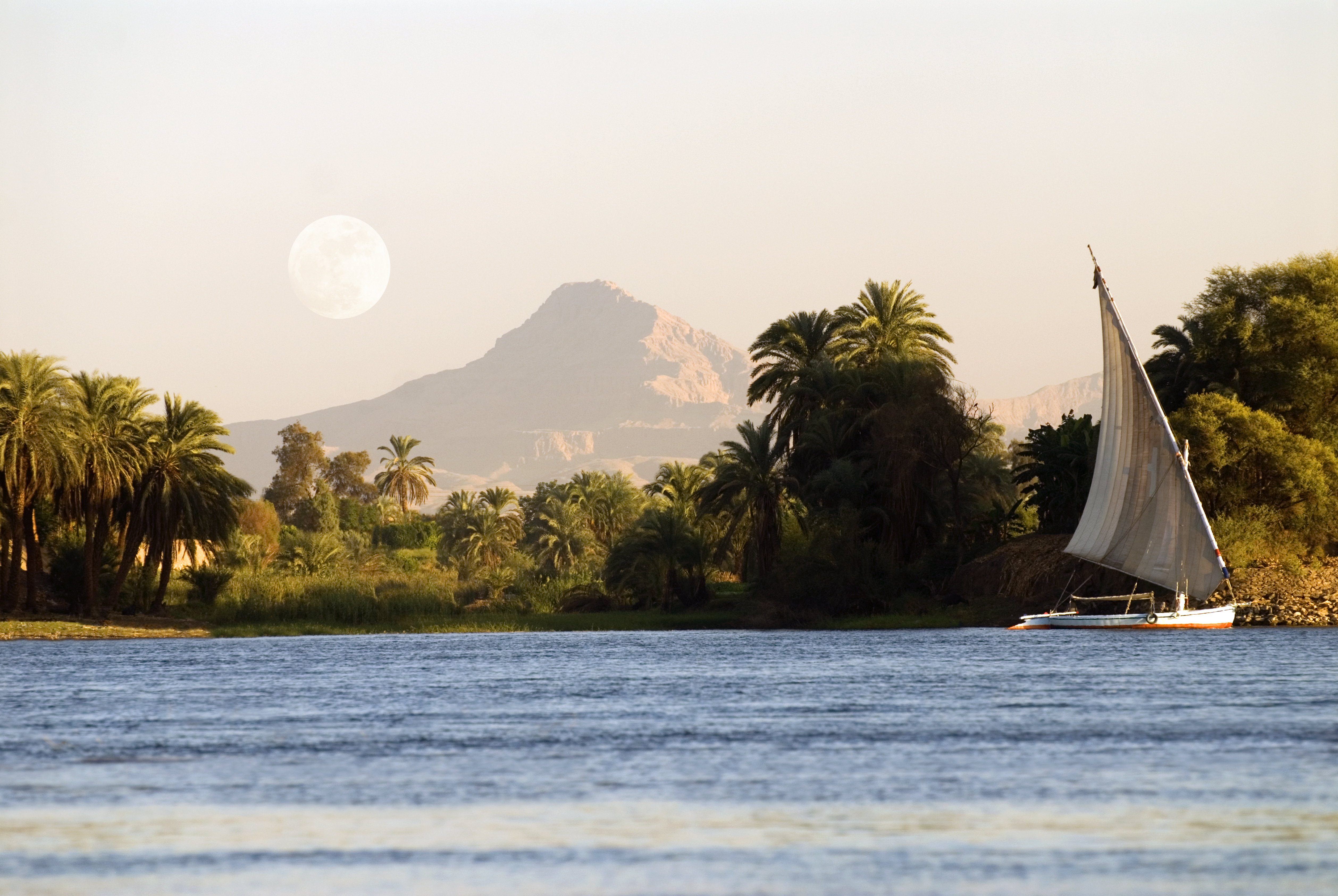 View of the Nile and west river bank, Luxor