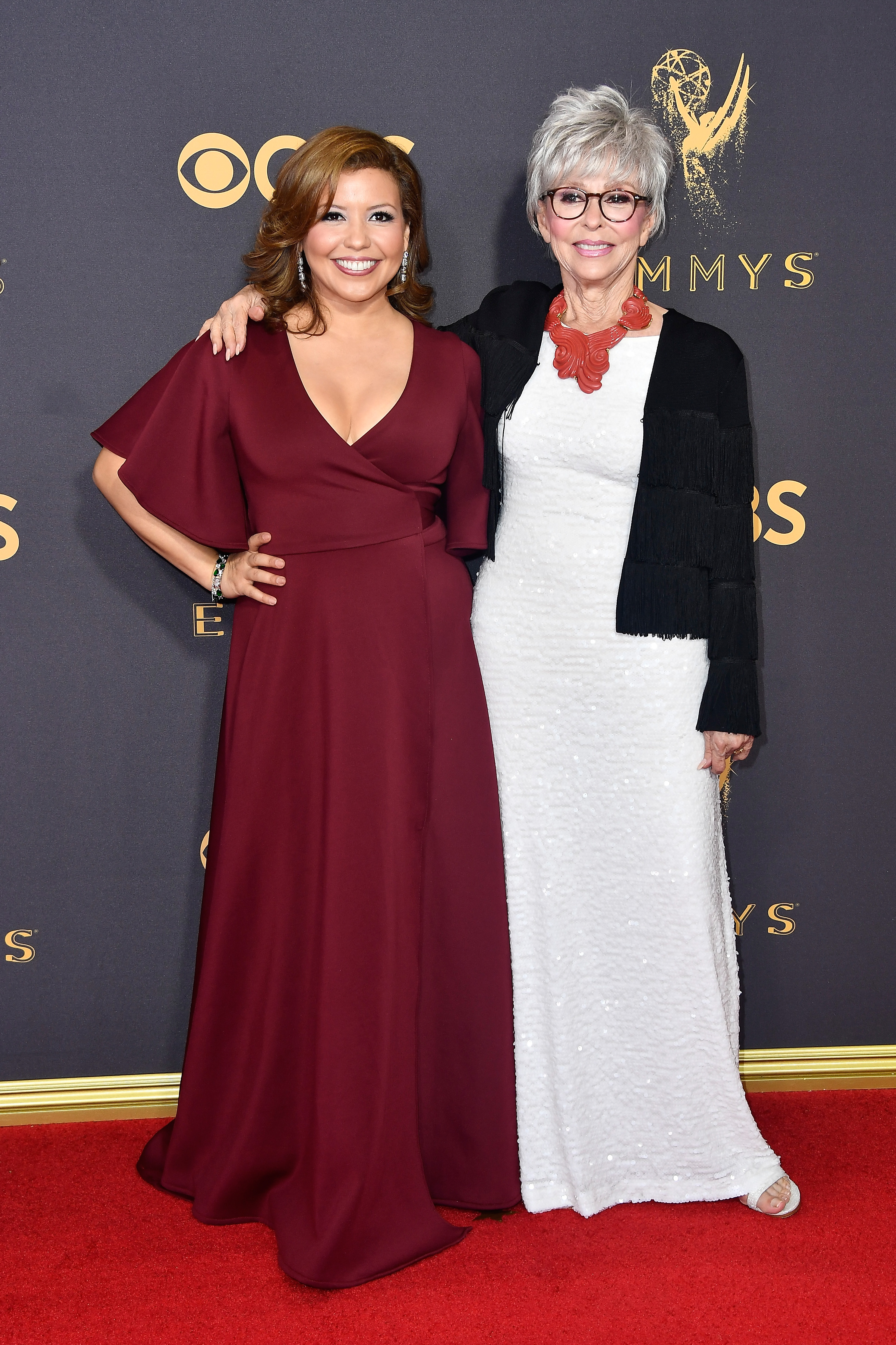 Actors Justina Machado and Rita Moreno attend the 69th Annual Primetime Emmy Awards at Microsoft Theater on Sept. 17, 2017 in Los Angeles.