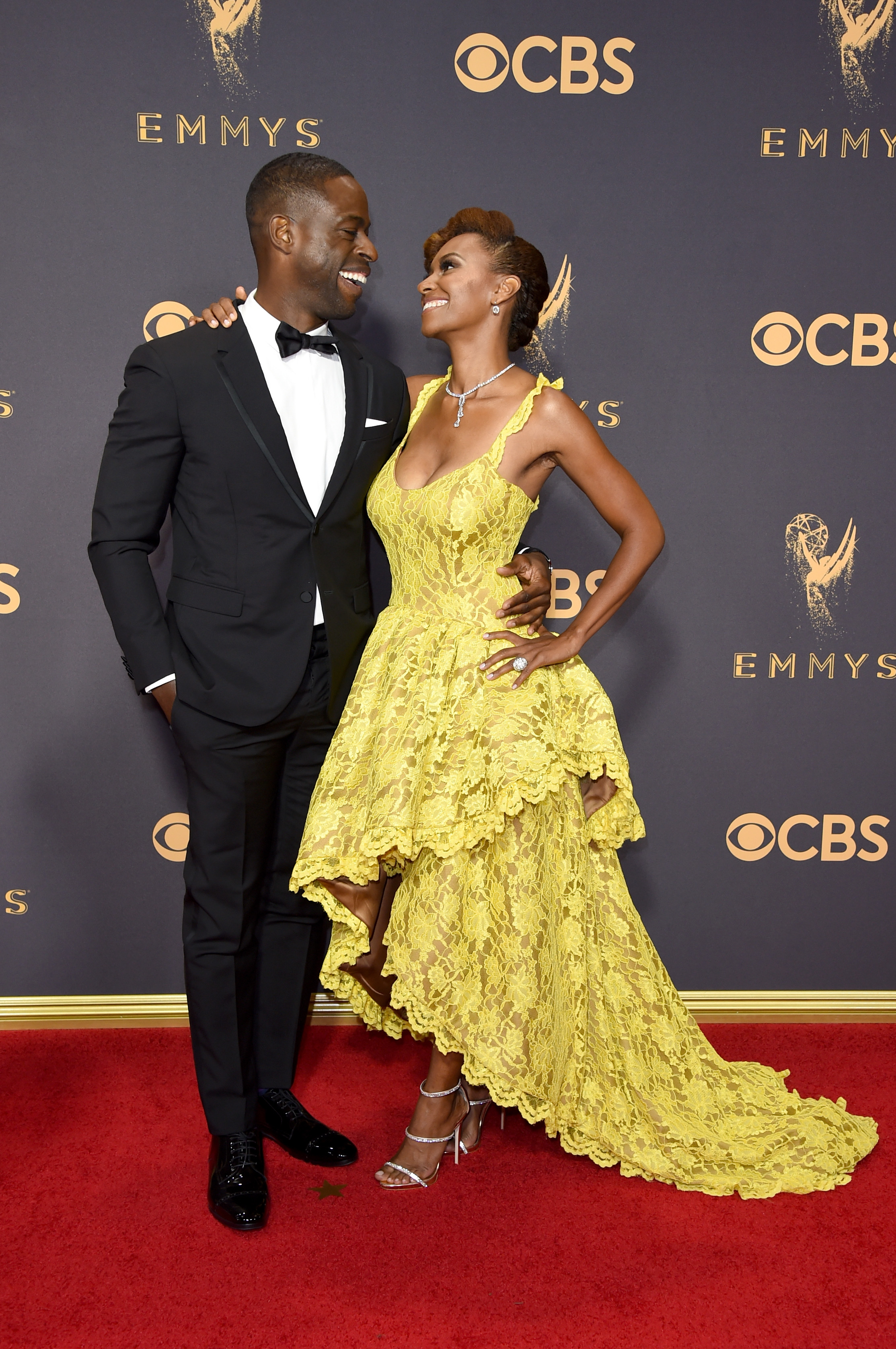 Sterling K. Brown and Ryan Michelle Bathe attend the 69th Annual Primetime Emmy Awards at Microsoft Theater on Sept. 17, 2017 in Los Angeles.