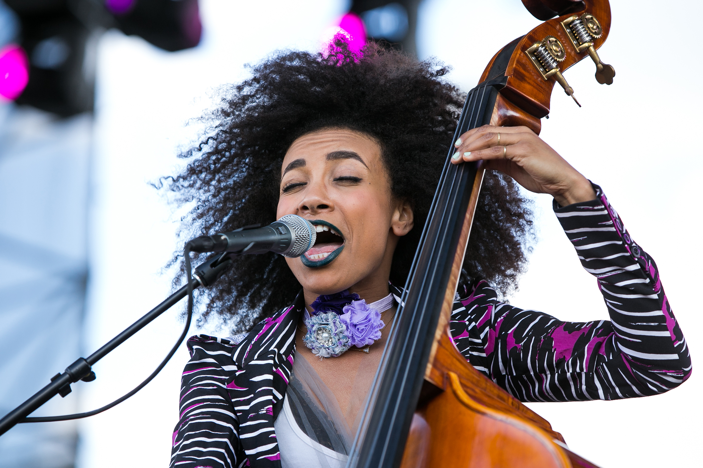 Esperanza Spalding performs during the 2017 Jazz in The Gardens at the Hard Rock Stadium in Miami Gardens, March 19, 2017.
