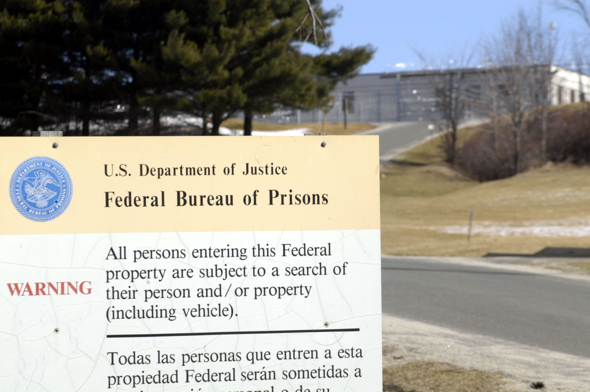 UNITED STATES - MARCH 11:  The federal prison at Danbury, Connecticut is pictured on Thursday, March 11, 2004. Martha Stewart, convicted of obstructing a U.S. investigation of stock she sold, may serve her 10-to-16 month sentence at the facility, about 27 miles form her home in Westport, Connecticut.  (Photo by Chris Ware/Bloomberg via Getty Images)