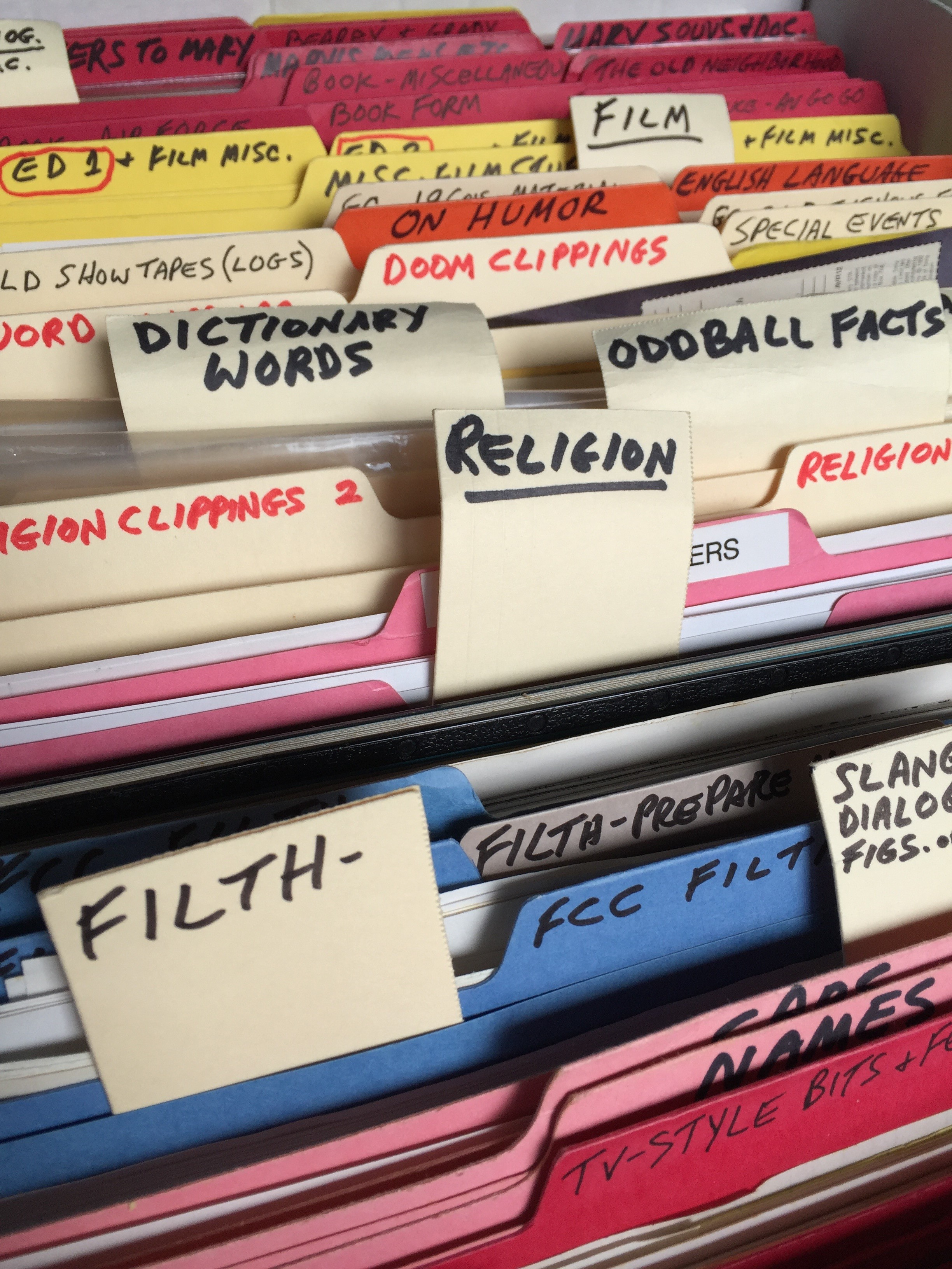 George Carlin's filing system