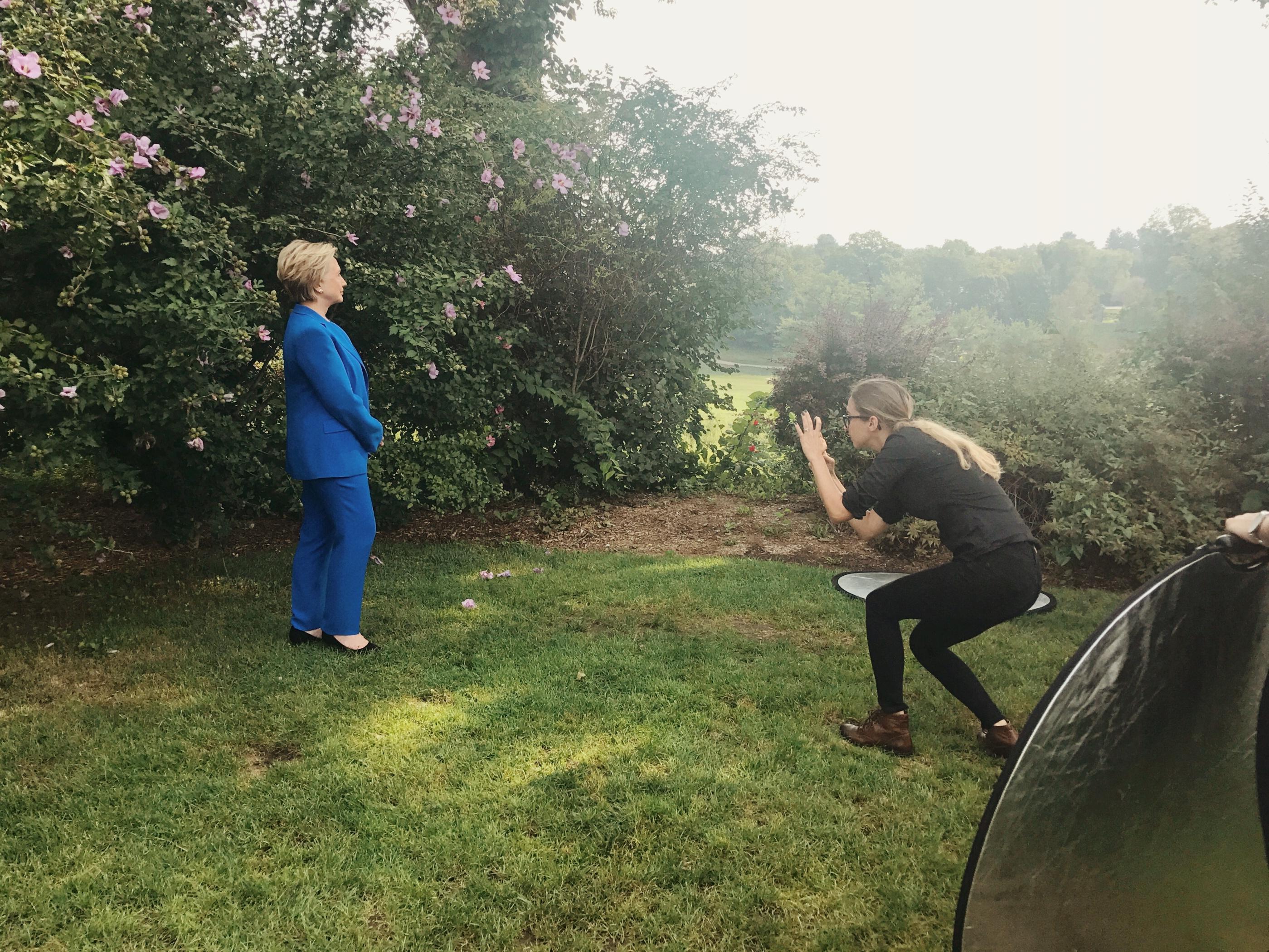 Photographer Luisa Dörr photographs secretary Hillary Rodham Clinton, in Chappaqua, New York on Sept. 5, 2017.