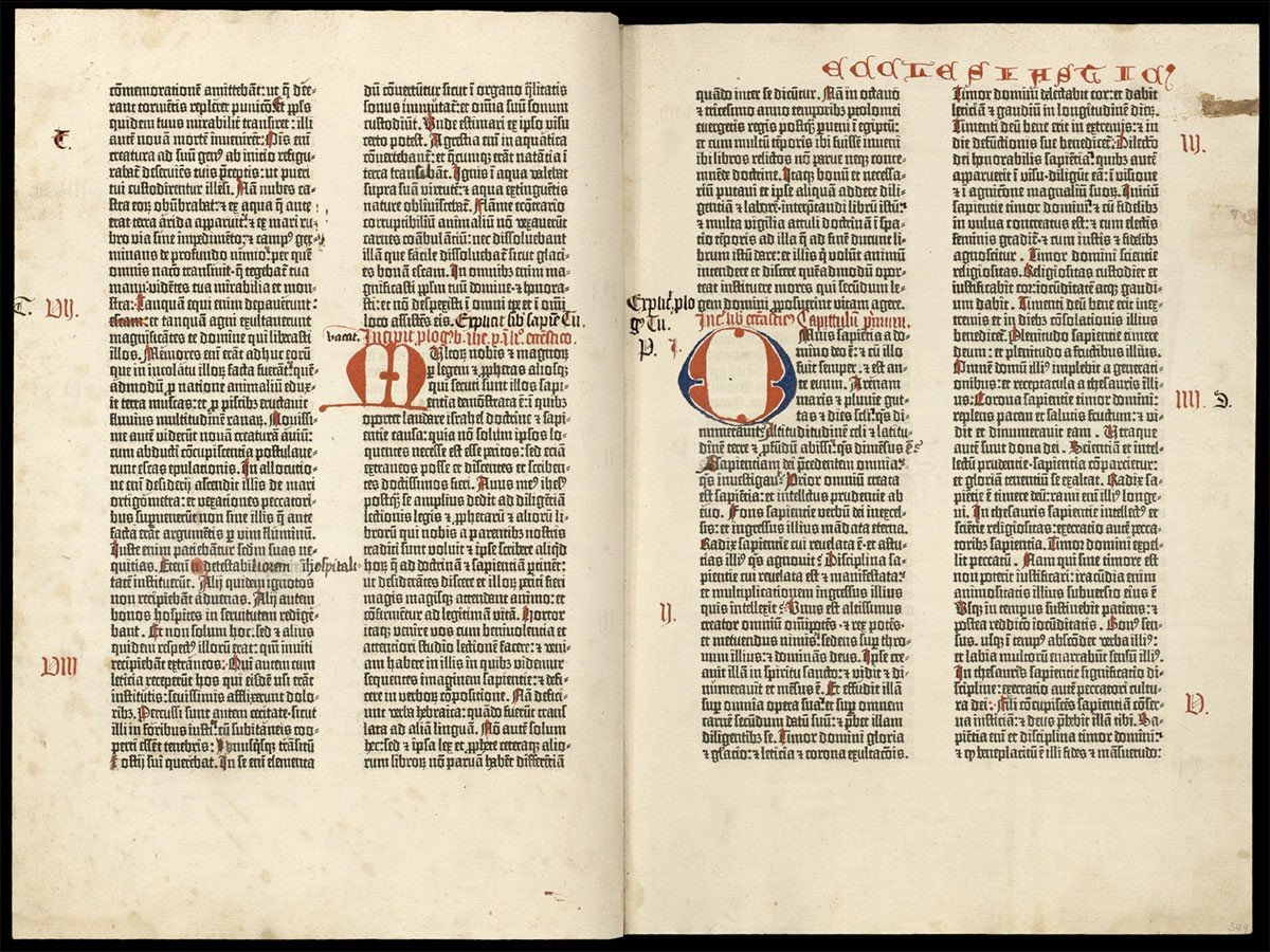 Folios 348 verso and 349 recto, showing the end of Wisdom and the beginning of Sirach (Ecclesiasticus)