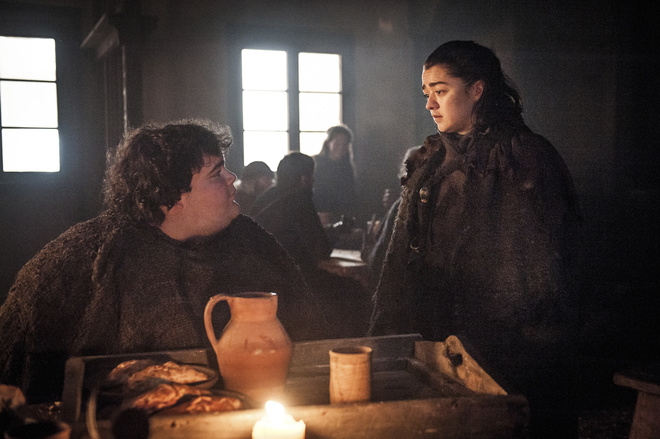 Ben Hawkey and Maisie Williams in Game of Thrones