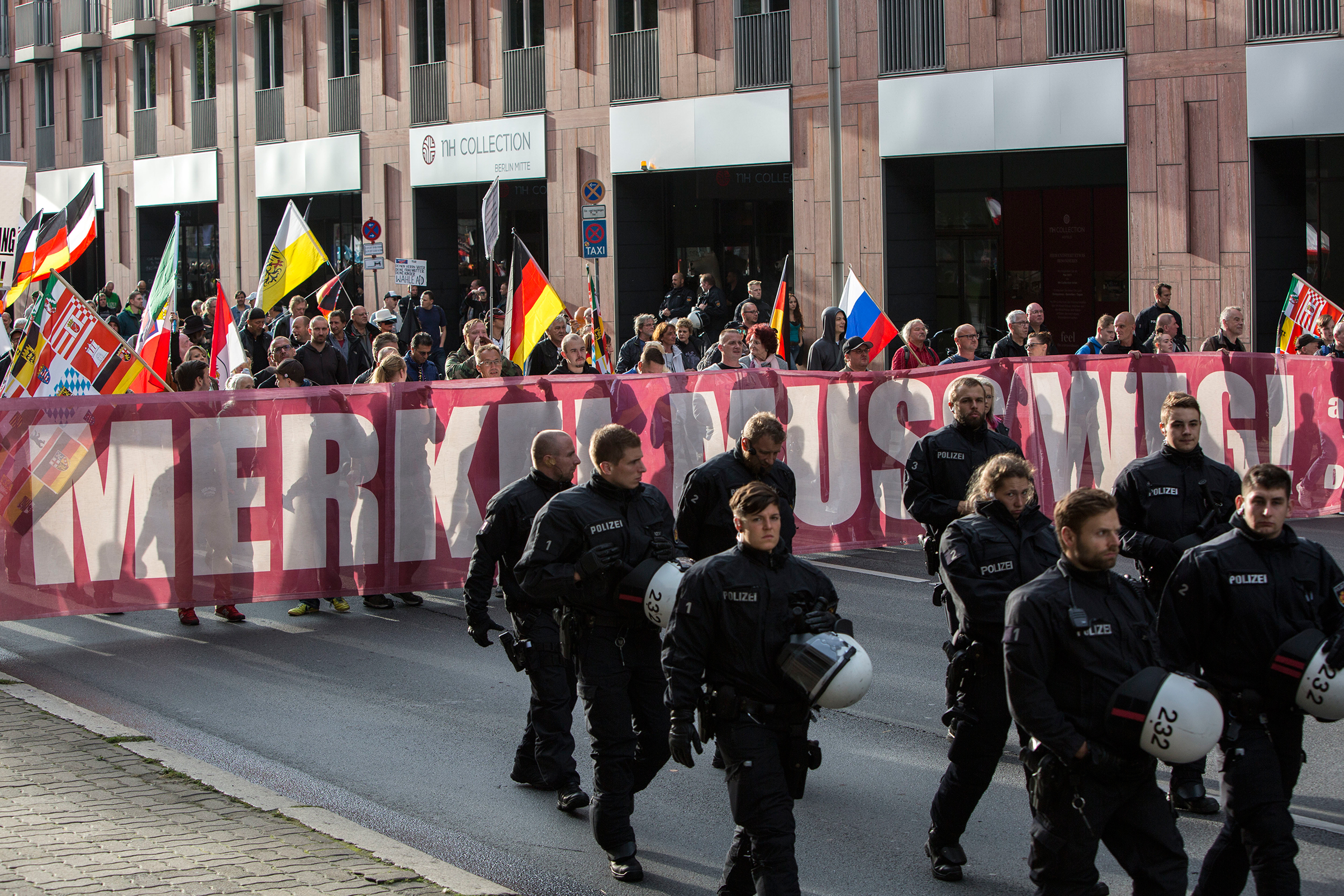 About 400 participants marched through Berlin's Mitte district as part of the seventh (and last) demonstration under the title  Merkel Muss Weg  (Merkel must go), on Sept. 9, 2017.