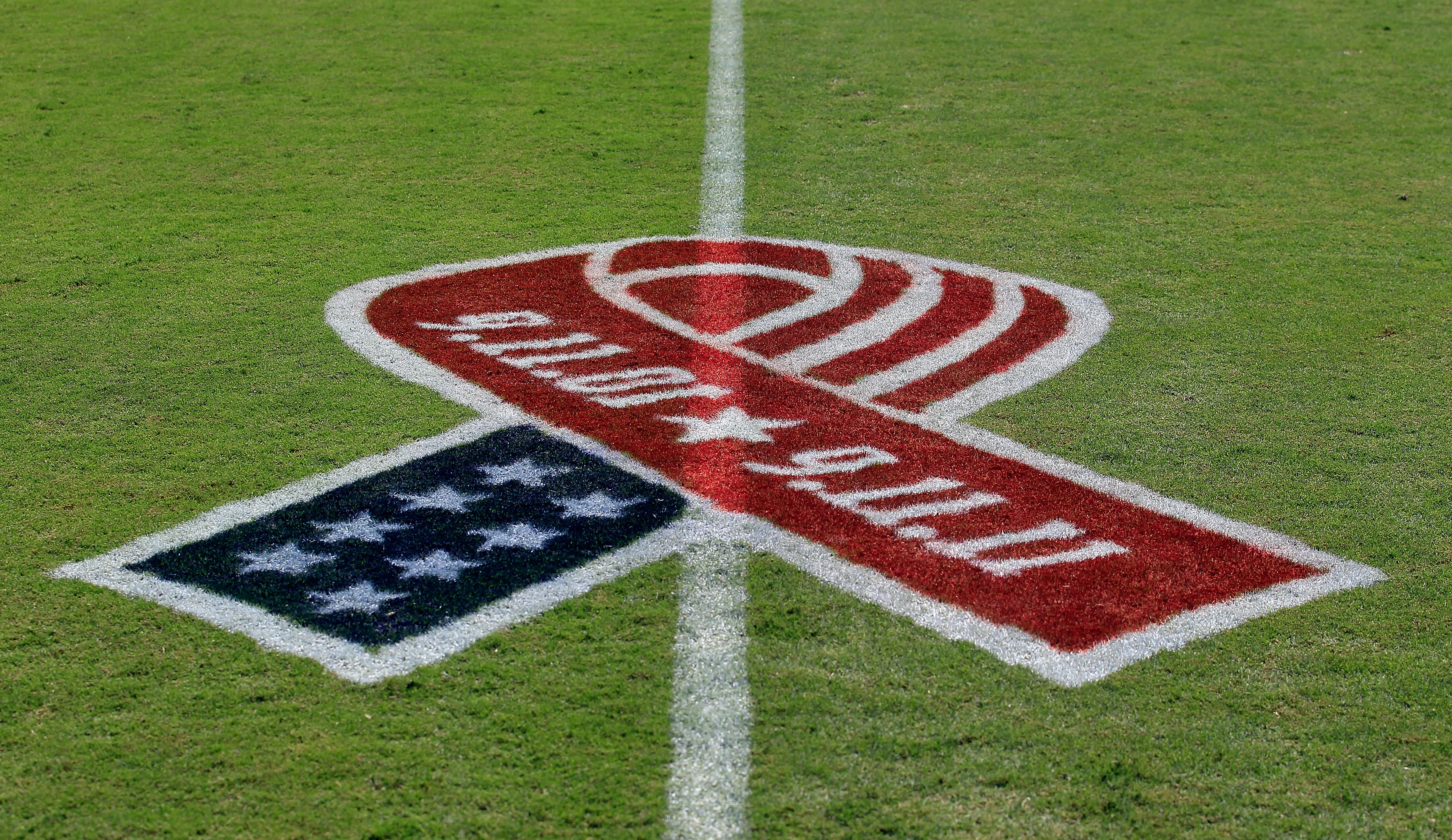 A 9/11 Memorial ribbon as seen on the field before the game between the Jacksonville Jaguars and the Tennessee Titans at EverBank Field on September 11, 2011 in Jacksonville, Florida. (Sam Greenwood—Getty)