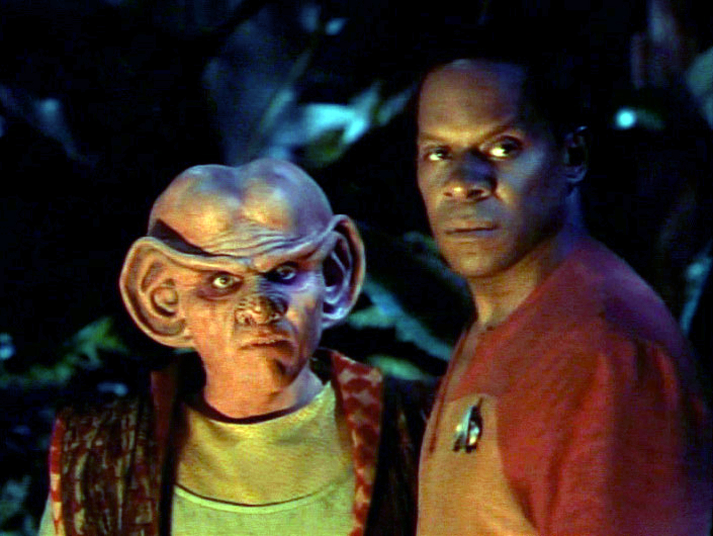 LOS ANGELES - JUNE 12: Armin Shimerman as Quark and Avery Brooks as Commander Benjamin Sisko in the STAR TREK: DEEP SPACE NINE episode,  The Jem'Hadar.   Original air date, June 12, 1994.  Season 2, episode 26.  Image is a screen grab.  (Photo by CBS via Getty Images)