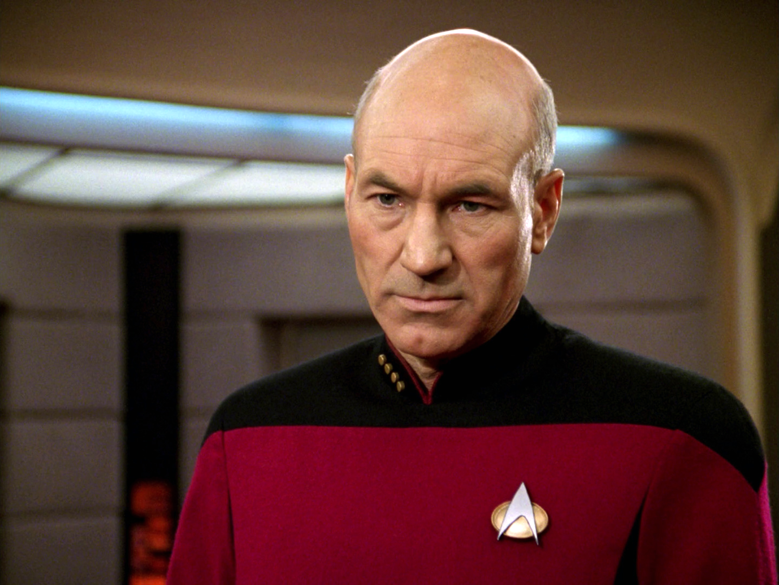 LOS ANGELES - JANUARY 8: Patrick Stewart as Captain Jean-Luc Picard in the STAR TREK: THE NEXT GENERATION episode,  The Hunted.  Season 3, episode 11.  Original air date, January 8, 1990.  (Photo by CBS via Getty Images)
