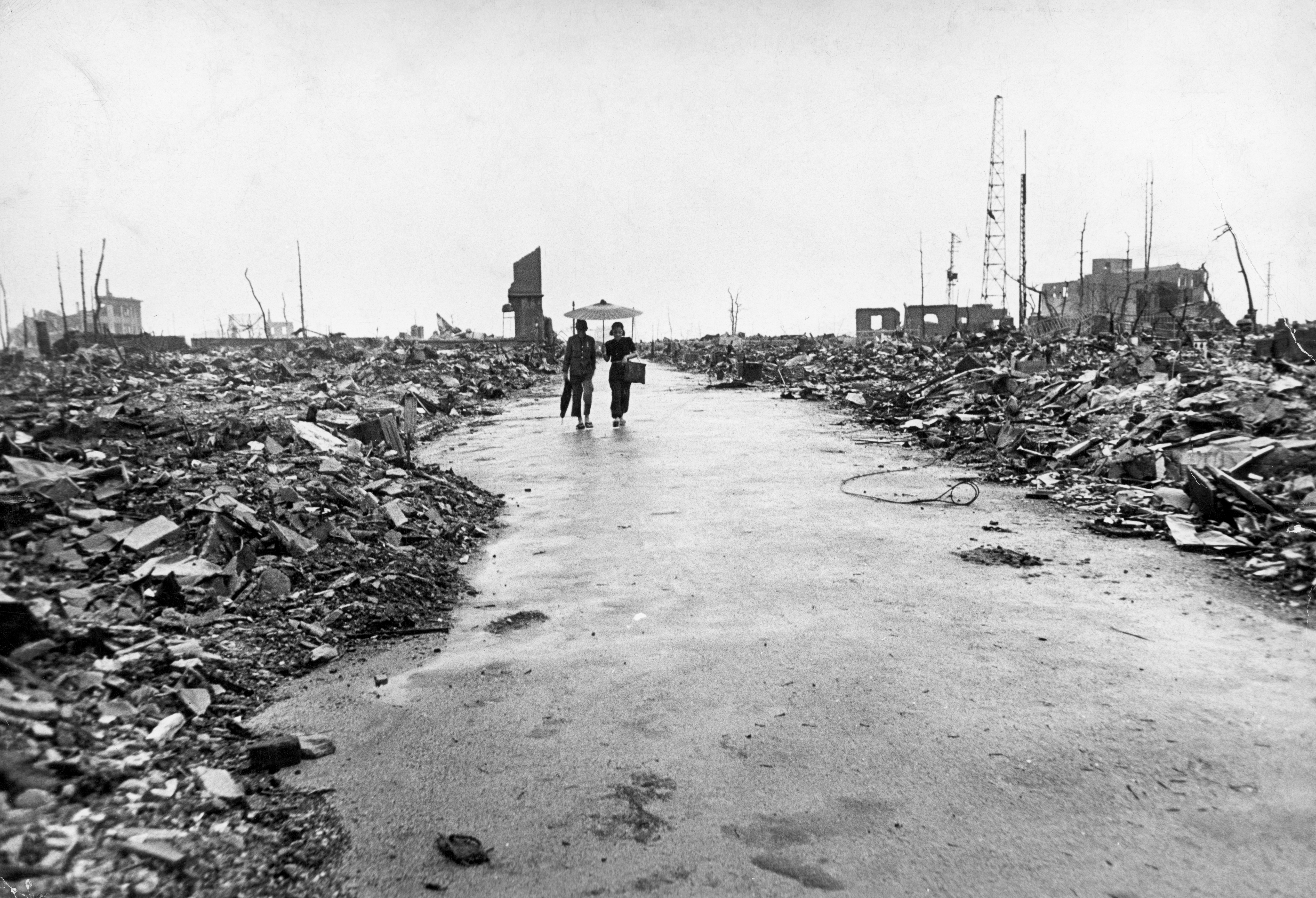 Hiroshima in ruins following the atomic bomb blast.