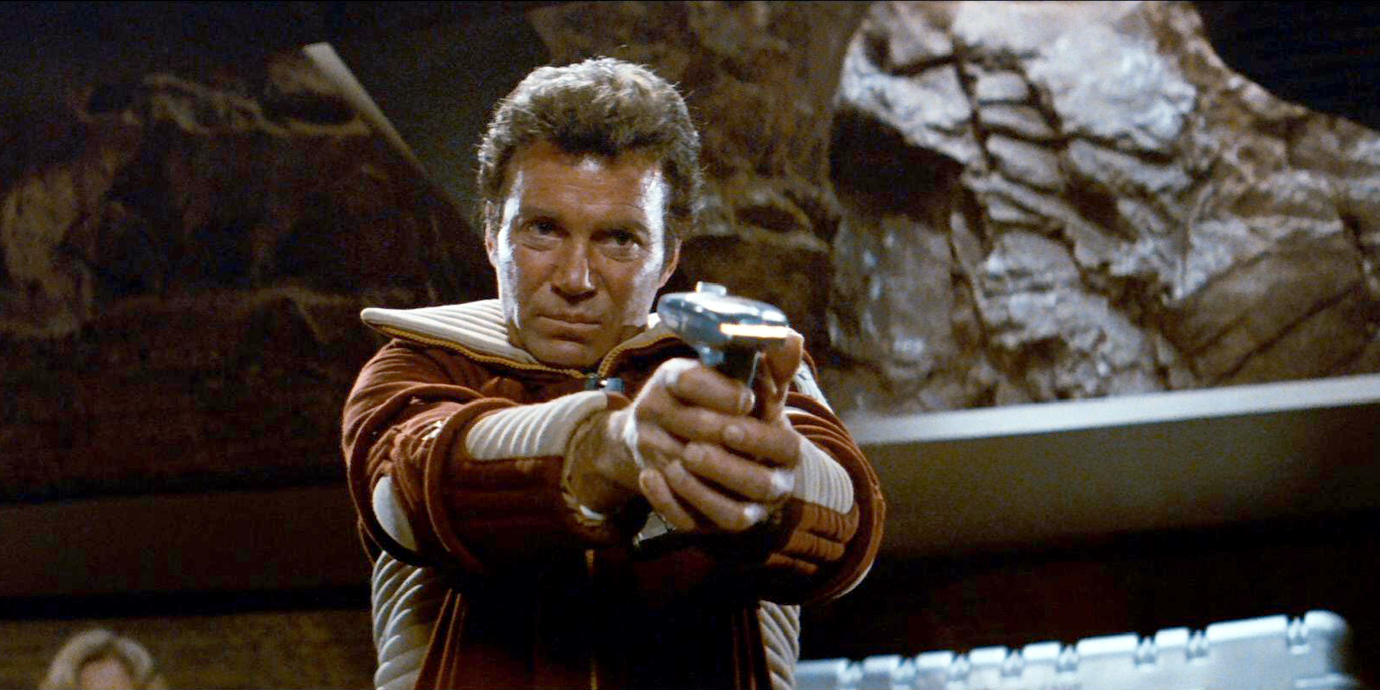 LOS ANGELES - JUNE 4: William Shatner as Admiral James T. Kirk in the movie,  Star Trek II: The Wrath of Khan.  Release date, June 4, 1982. Image is a screen grab. (Photo by CBS via Getty Images)