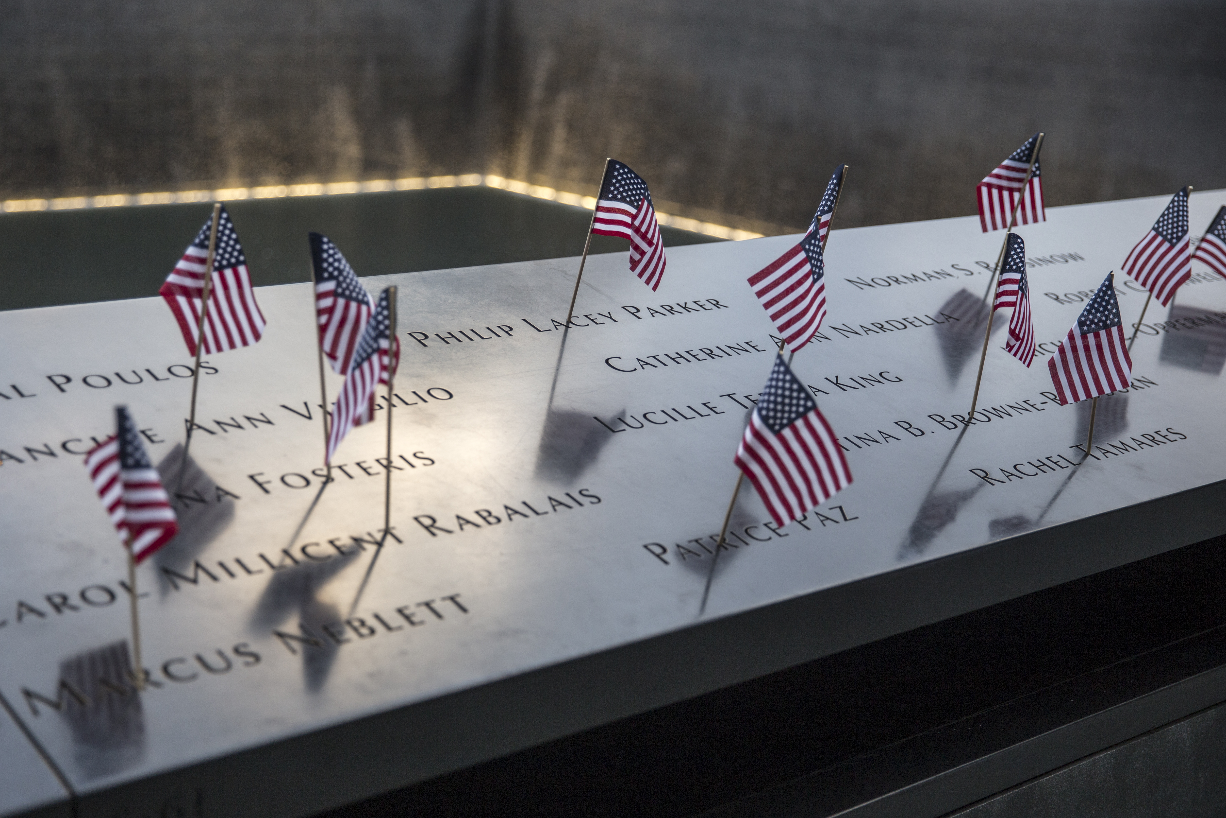 Small American flags are placed in all 2,983 names on the 9/11 Memorial on July 4, 2017 in the Manhattan borough of New York City.