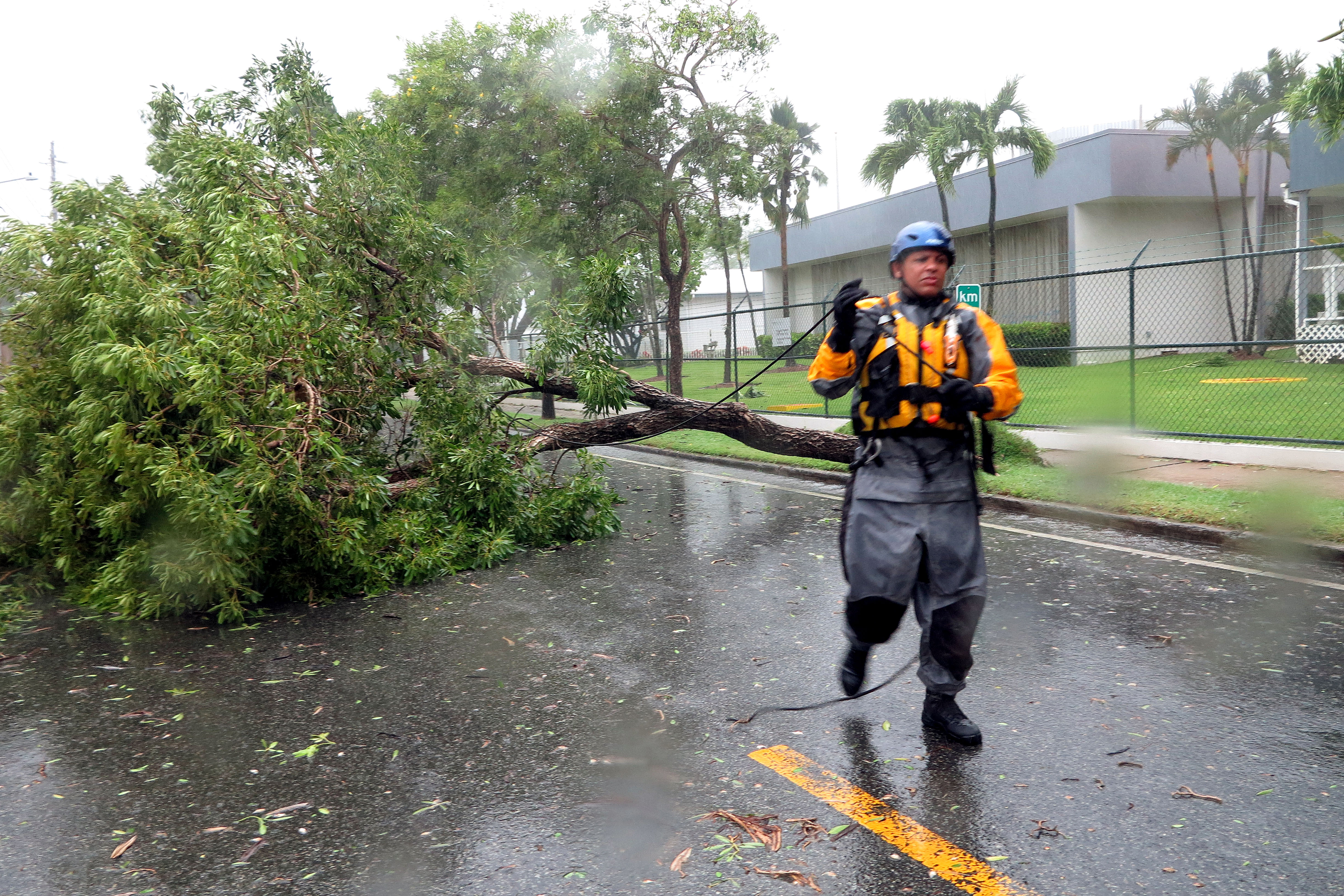 Julio Feliciano ties a rope to a fallen tree to get it pulled by a truck during a search mission, as hurricane Irma hits Puerto Rico in Fajardo, on September 6, 2017.