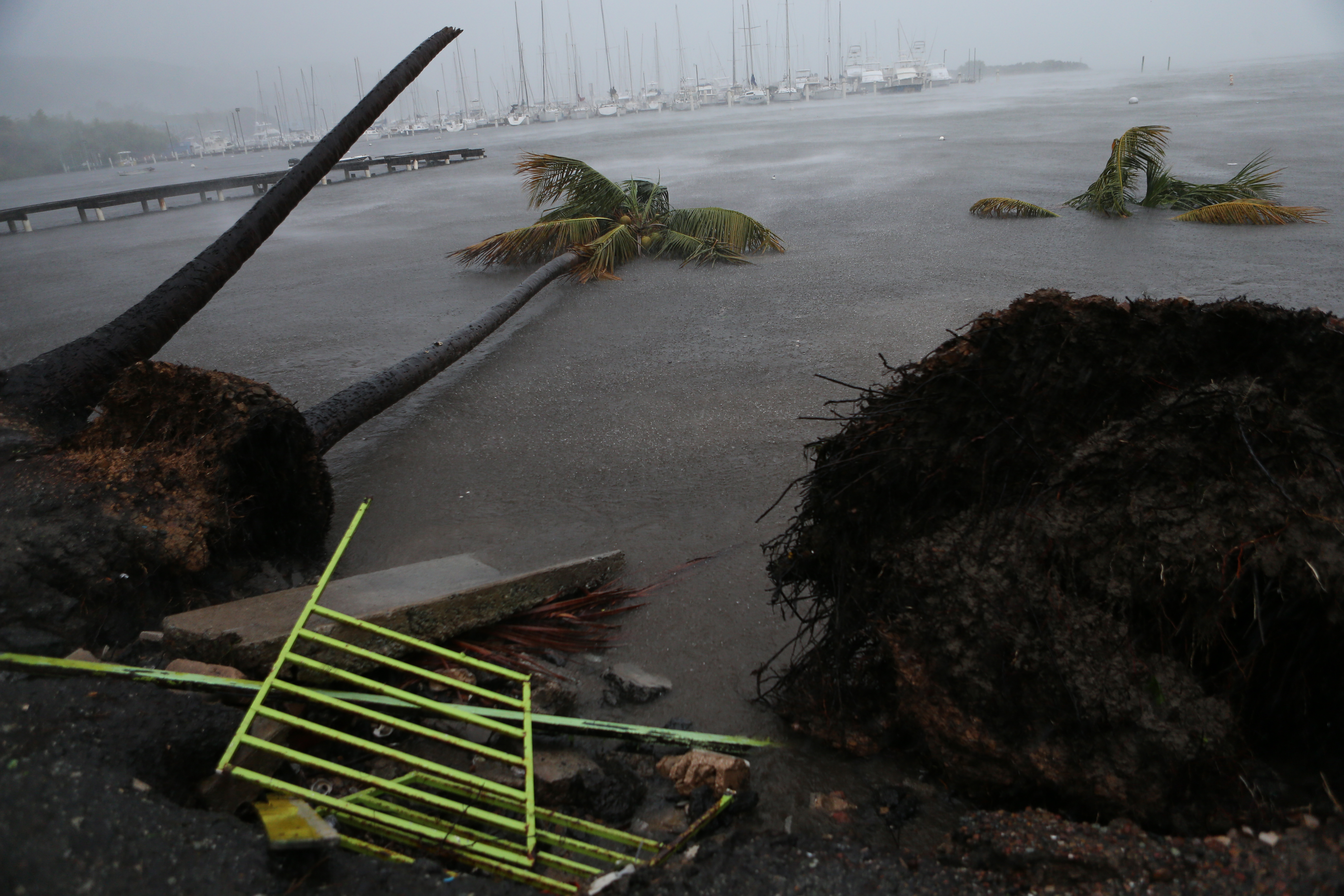 Debris is seen near the Puerto Chico Harbor during the passing of Hurricane Irma on September 6, 2017 in Fajardo, Puerto Rico.