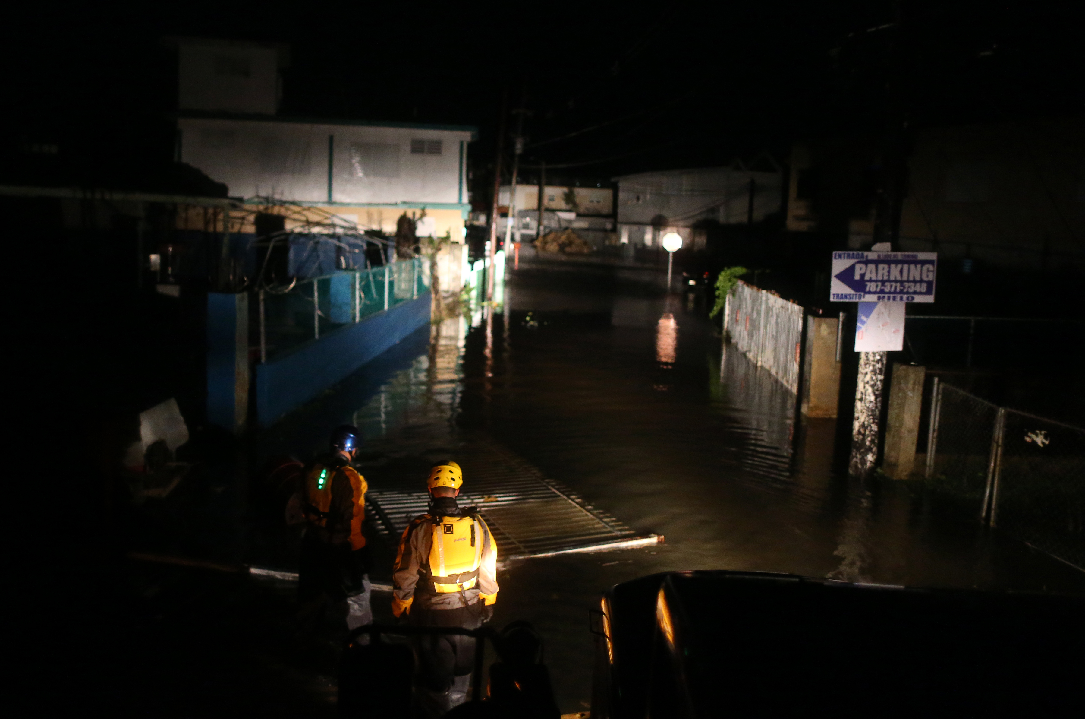A rescue team from the local emergency management agency inspects flooded areas in Fajardo, Puerto Rico on September 6, 2017