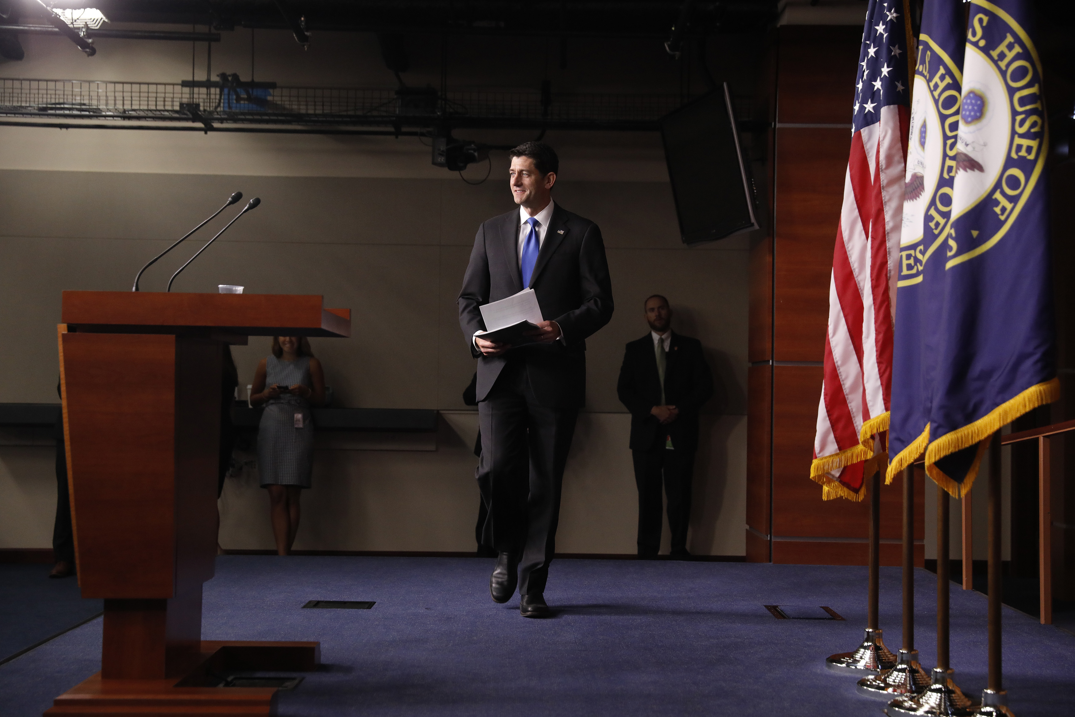 Speaker of the House Paul Ryan arrives for a press conference at the U.S. Capitol September 7, 2017 in Washington, DC.