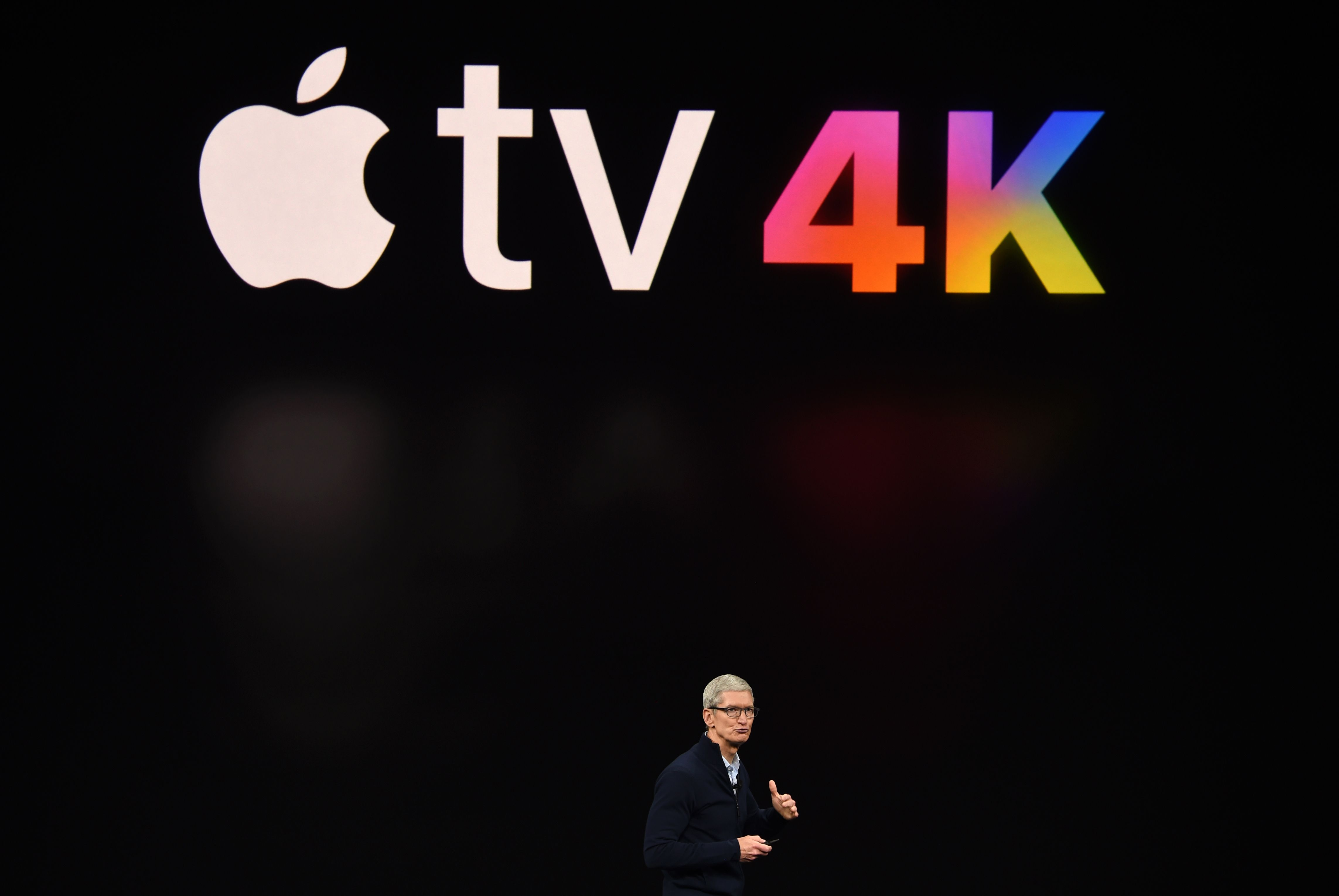 Apple CEO Tim Cook speaks about Apple TV during a media event at Apple's new headquarters in Cupertino, California on September 12, 2017.