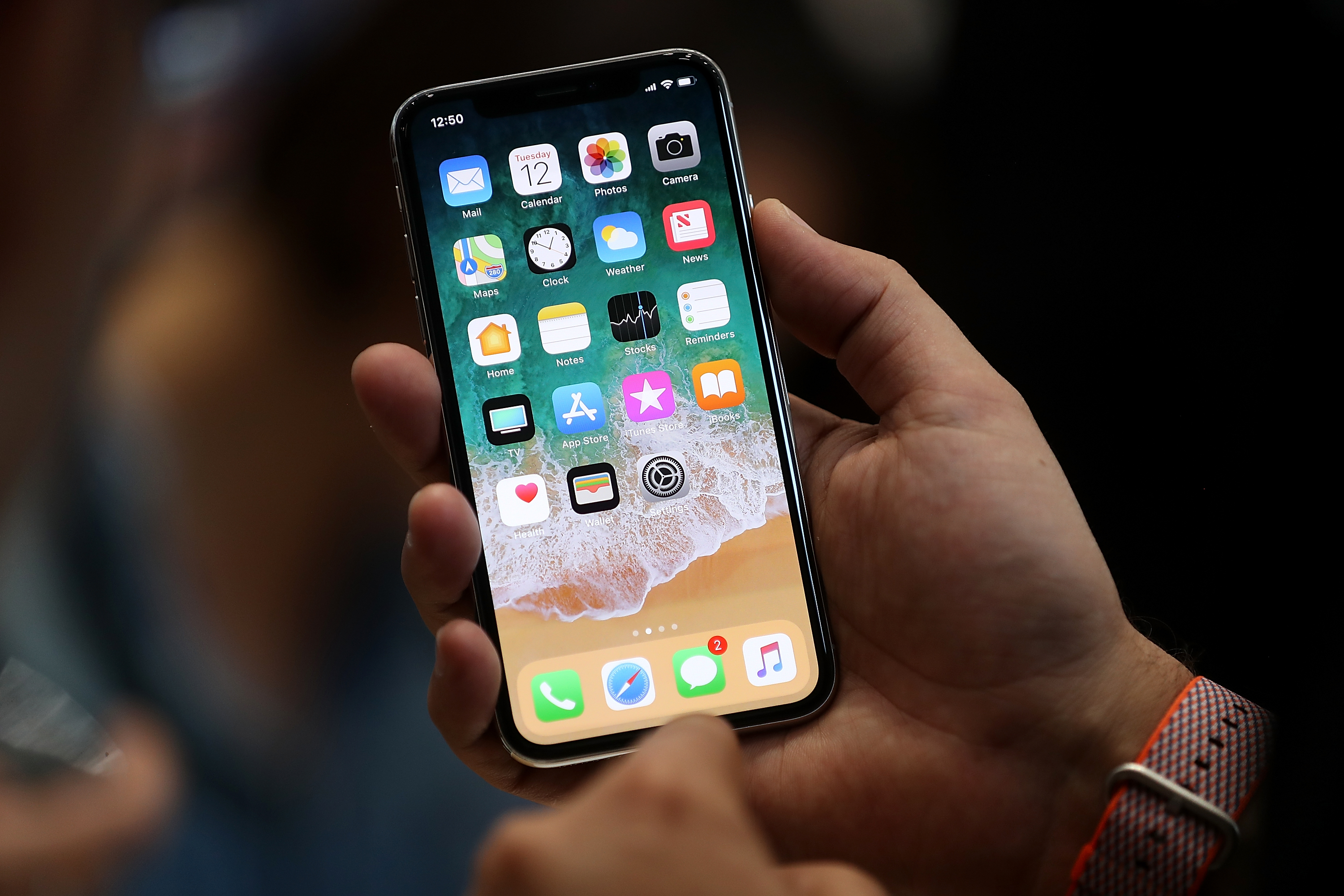 The new iPhone X is displayed during an Apple special event at the Steve Jobs Theatre on the Apple Park campus on September 12, 2017 in Cupertino, California.