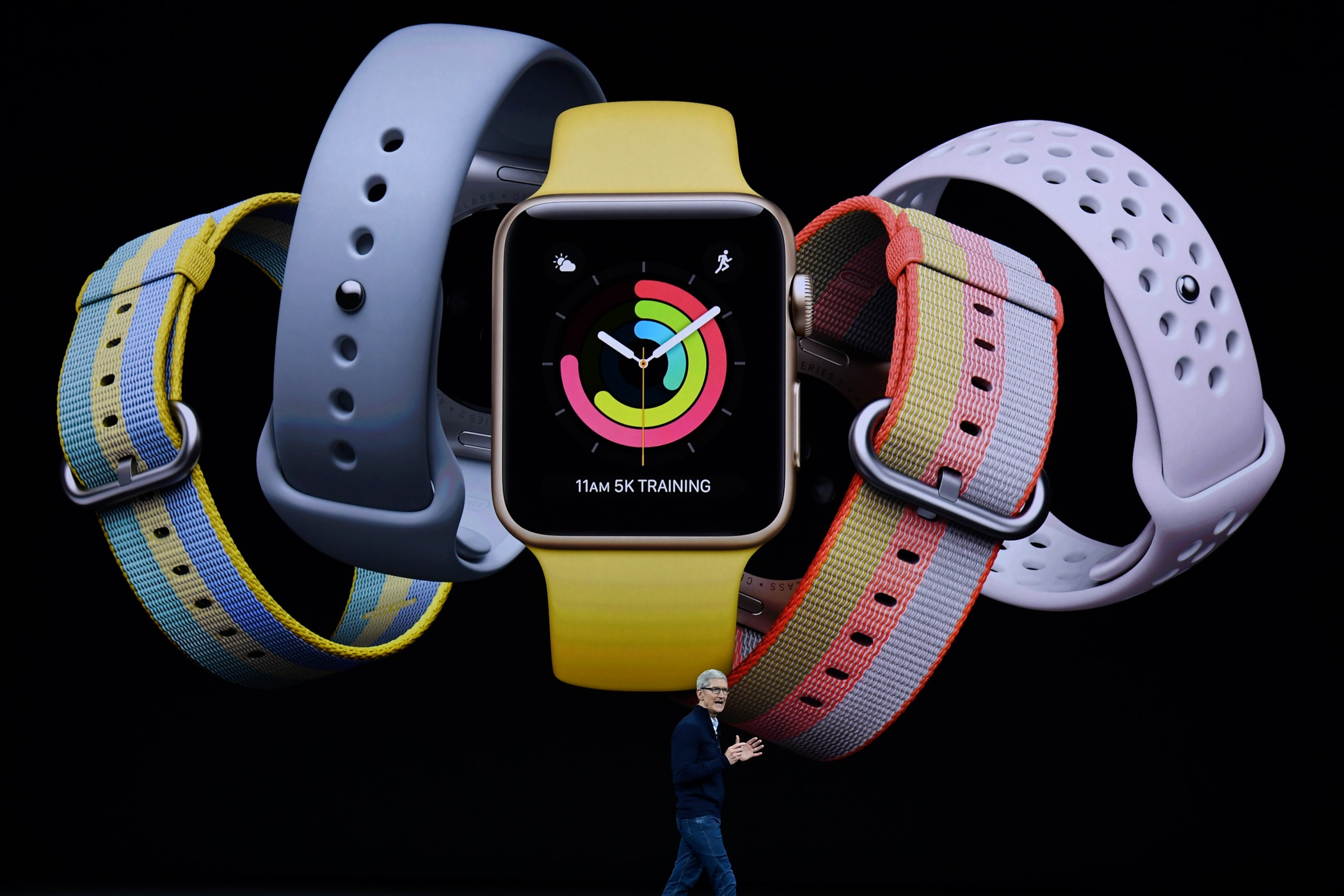 Apple CEO Tim Cook introduces Apple Watch during the Apple launch event on September 12, 2017 in Cupertino,California. Apple Inc. unveiled its new iPhone 8, iPhone X, iPhone 8 Plus, and the Apple Watch Series 3 at the new Apple Park campus.
