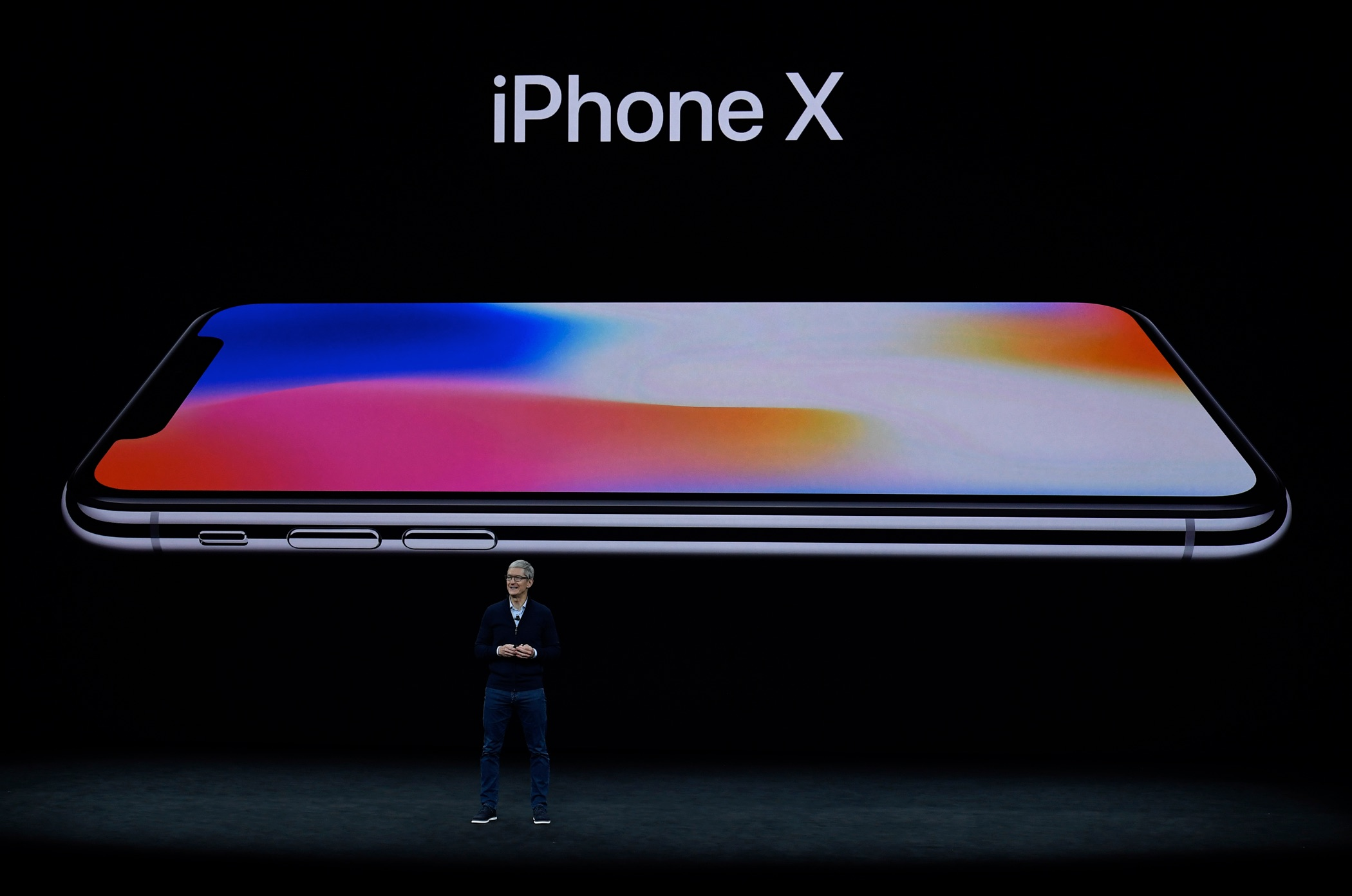 Apple CEO Tim Cook introduces iPhone X during the Apple launch event on September 12, 2017 in Cupertino, California. Apple Inc. unveiled its new iPhone 8, iPhone X, iPhone 8 Plus, and the Apple Watch Series 3 at the new Apple Park campus.