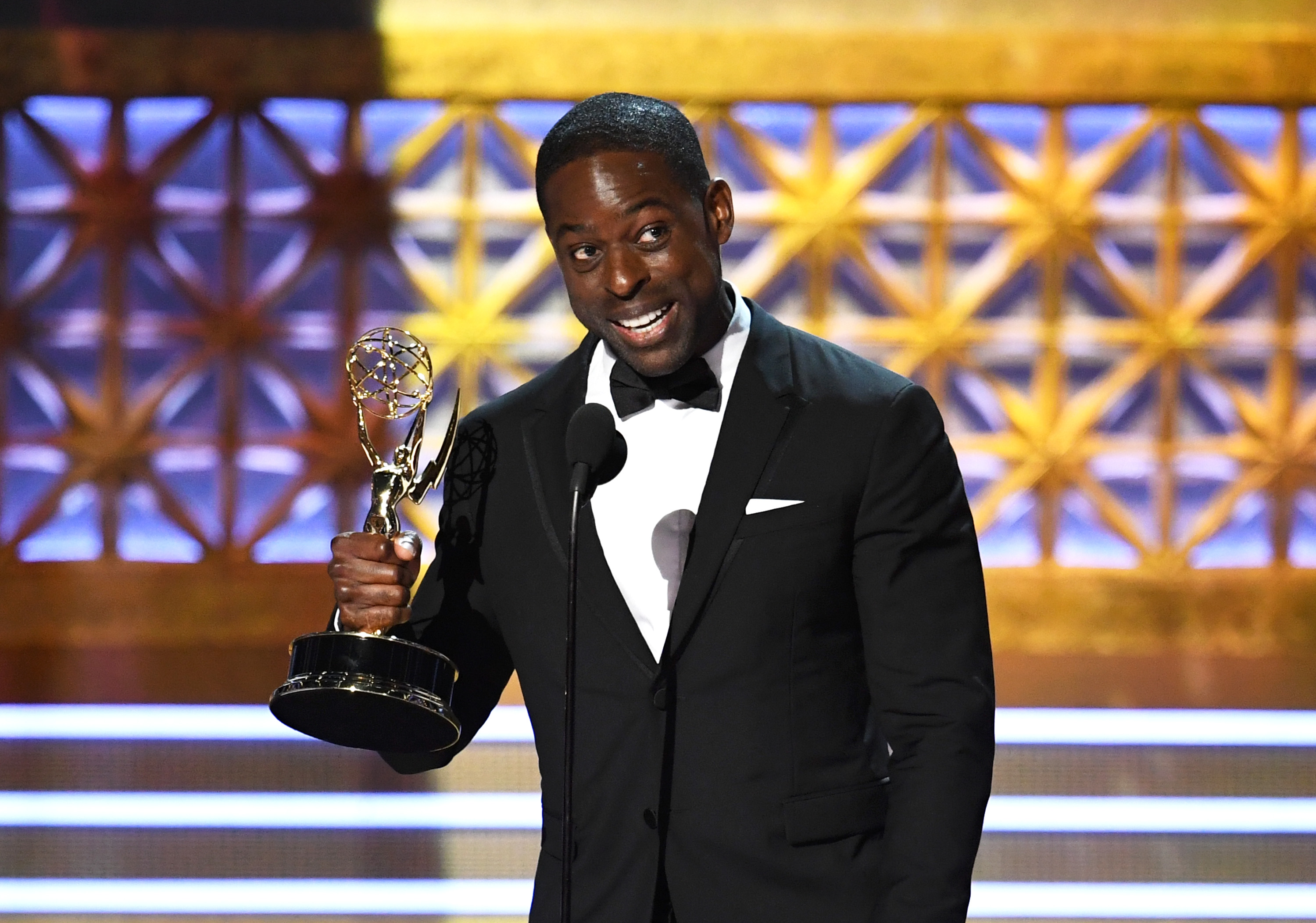 Sterling K. Brown accepts Outstanding Lead Actor in a Drama Series for  This Is Us  onstage during the 69th Annual Primetime Emmy Awards at Microsoft Theater on September 17, 2017 in Los Angeles, California