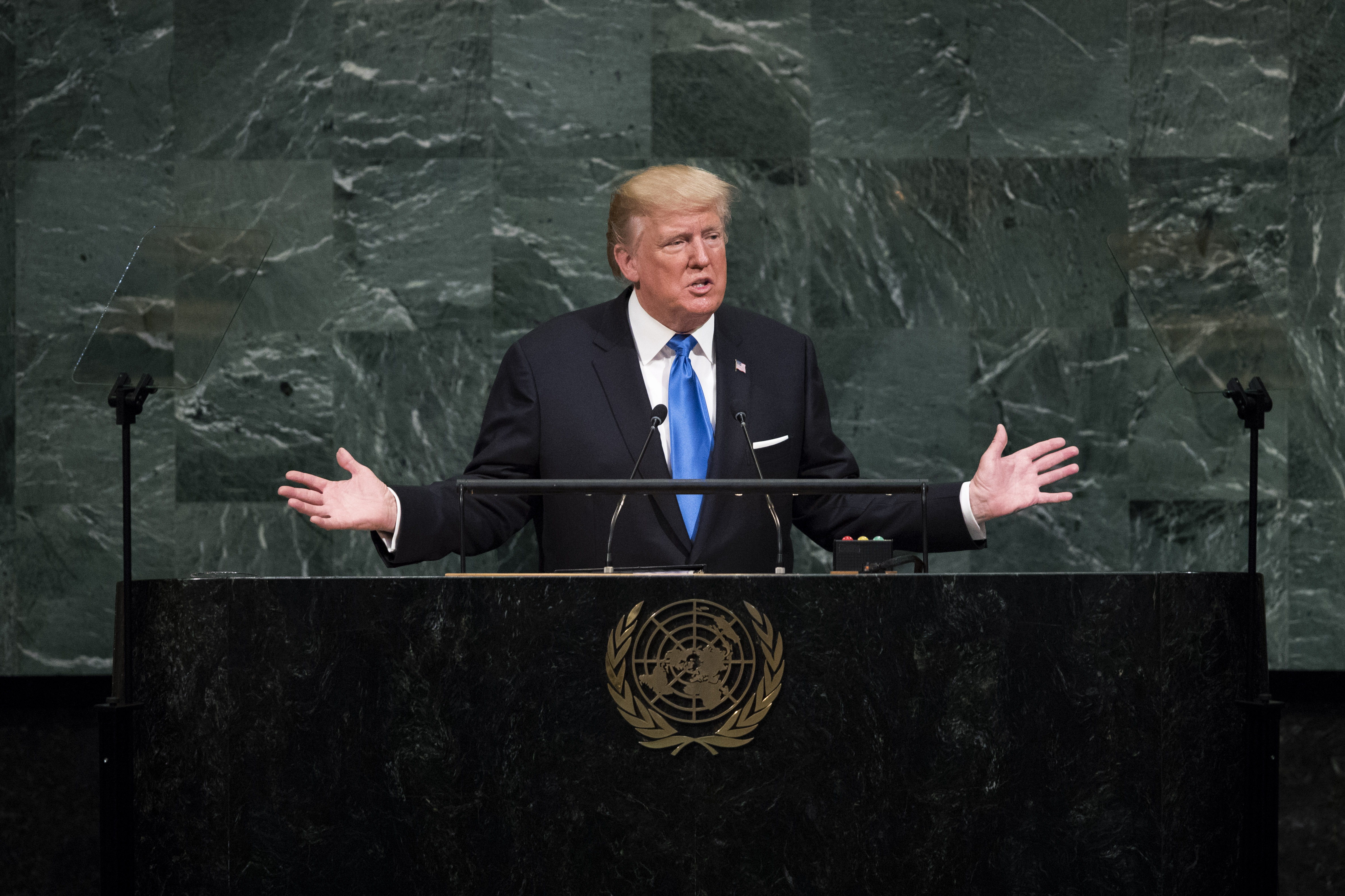US President Donald Trump addresses the 72nd Annual UN General Assembly in New York on Sept. 19, 2017.