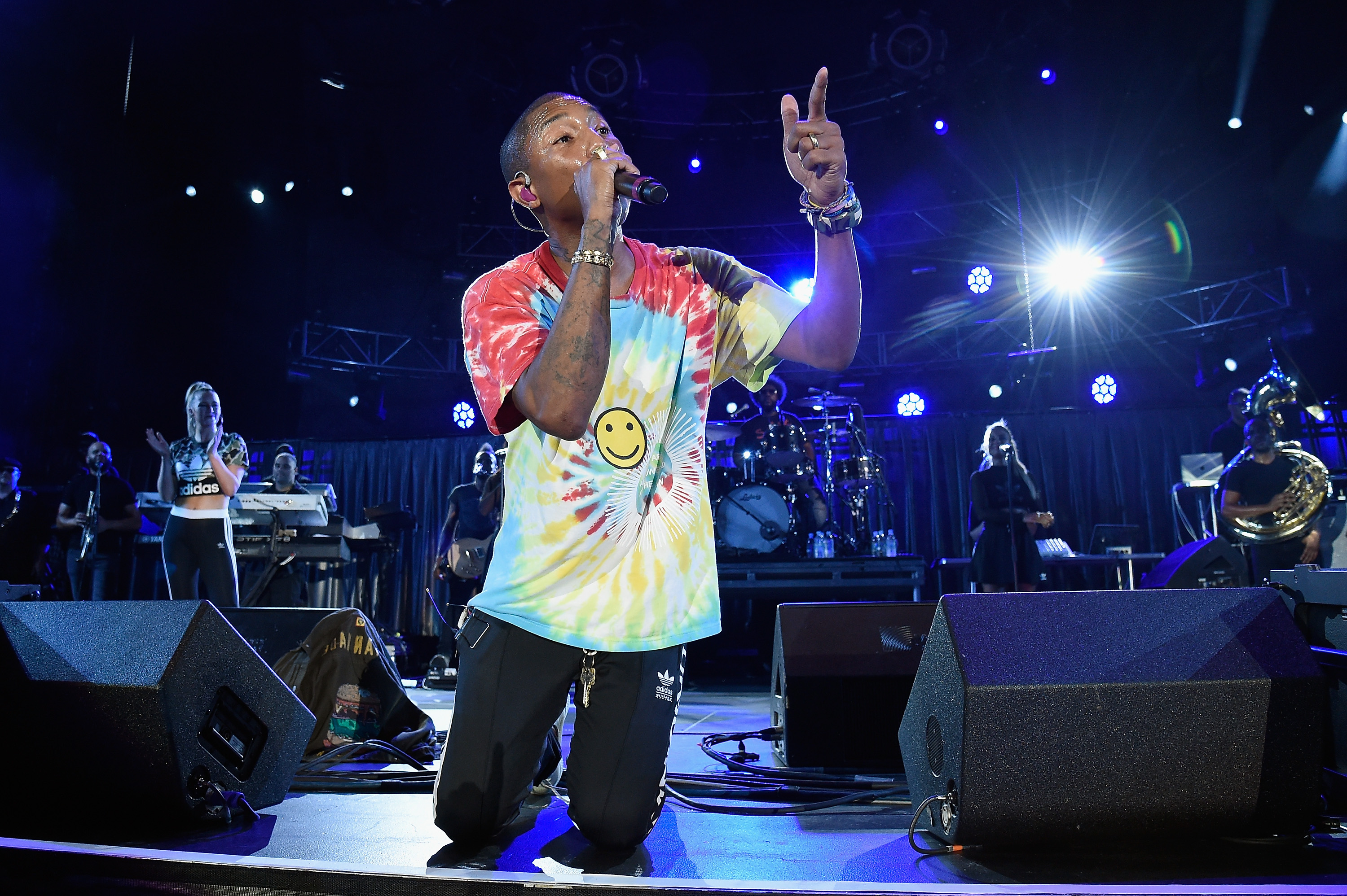 Pharrell Williams performs with The Roots at  A Concert for Charlottesville,  at University of Virginia's Scott Stadium in Charlottesville, Va., Sept. 24, 2017.