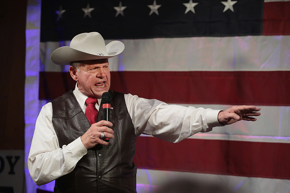 Republican candidate for the U.S. Senate in Alabama, Roy Moore, speaks at a campaign rally on September 25, 2017 in Fairhope, Alabama.