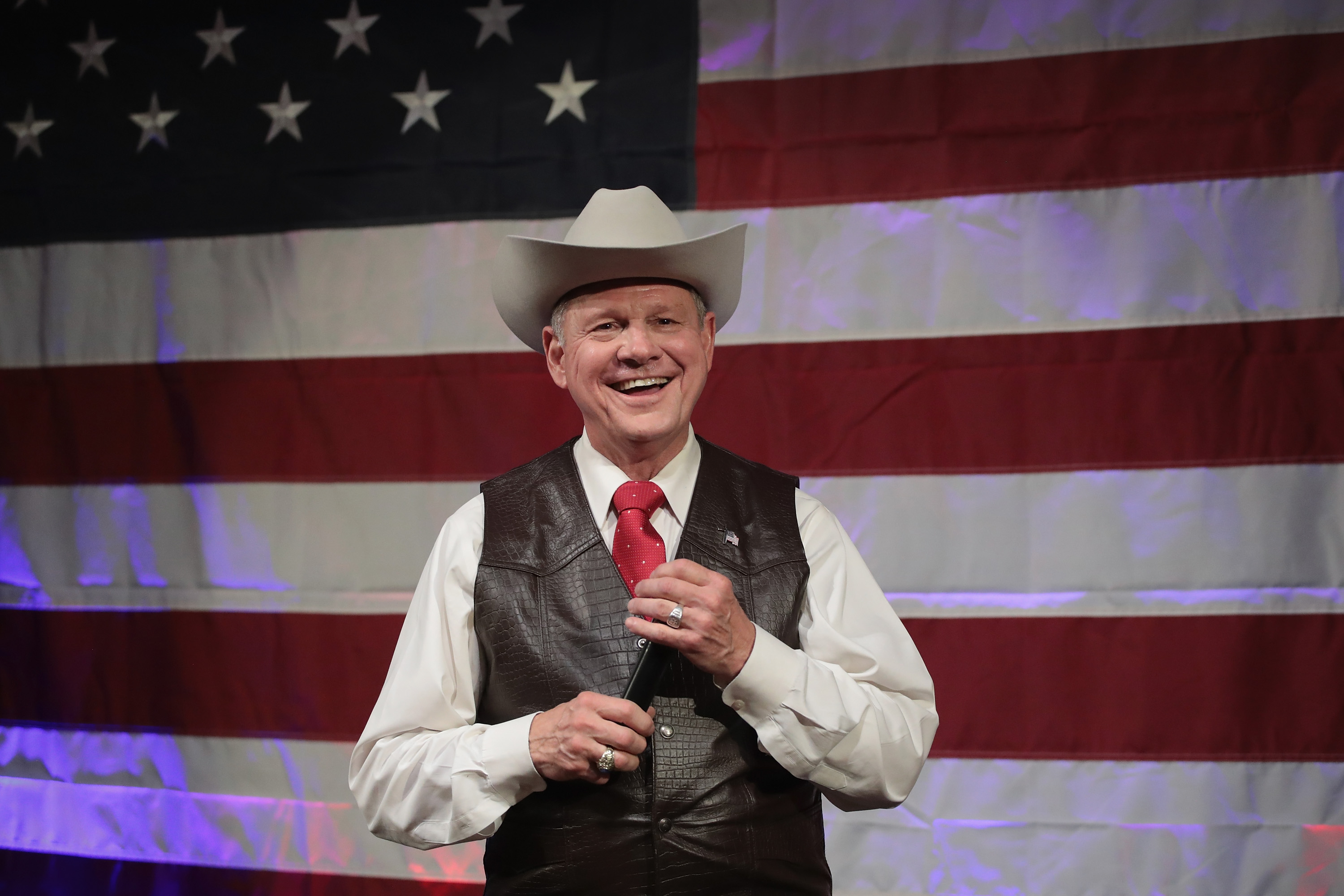 Roy Moore, speaks at a campaign rallyin Fairhope, Alabama on Sept. 25, 2017.