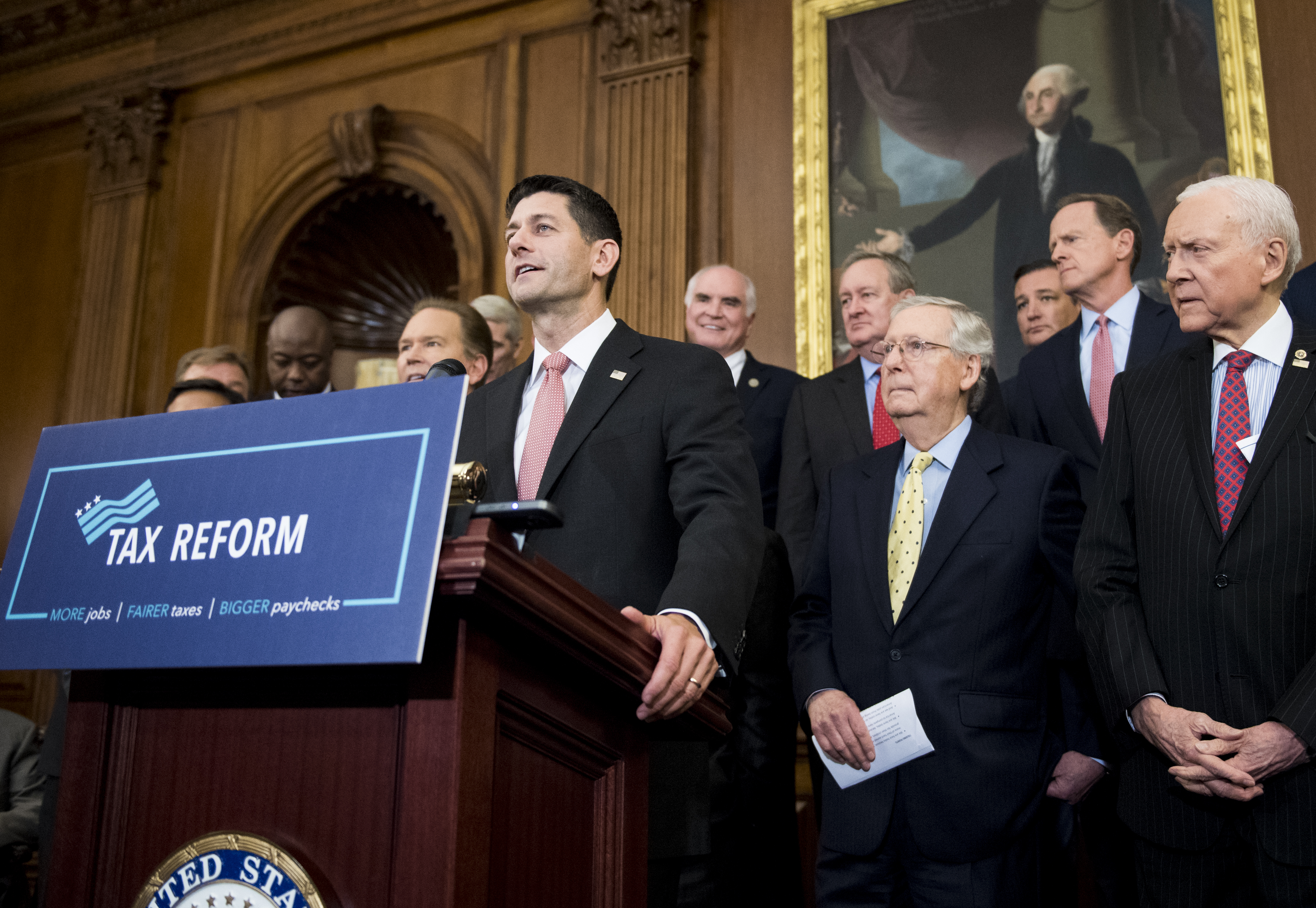 Speaker of the House Paul Ryan, R-Wisc, Senate Majority Leader Mitch McConnell, R-Ky., and Sen. Orrin Hatch, R-Utah,  participate in the Congressional GOP media availability to unveil the GOP tax reform plan on Sept. 27, 2017.