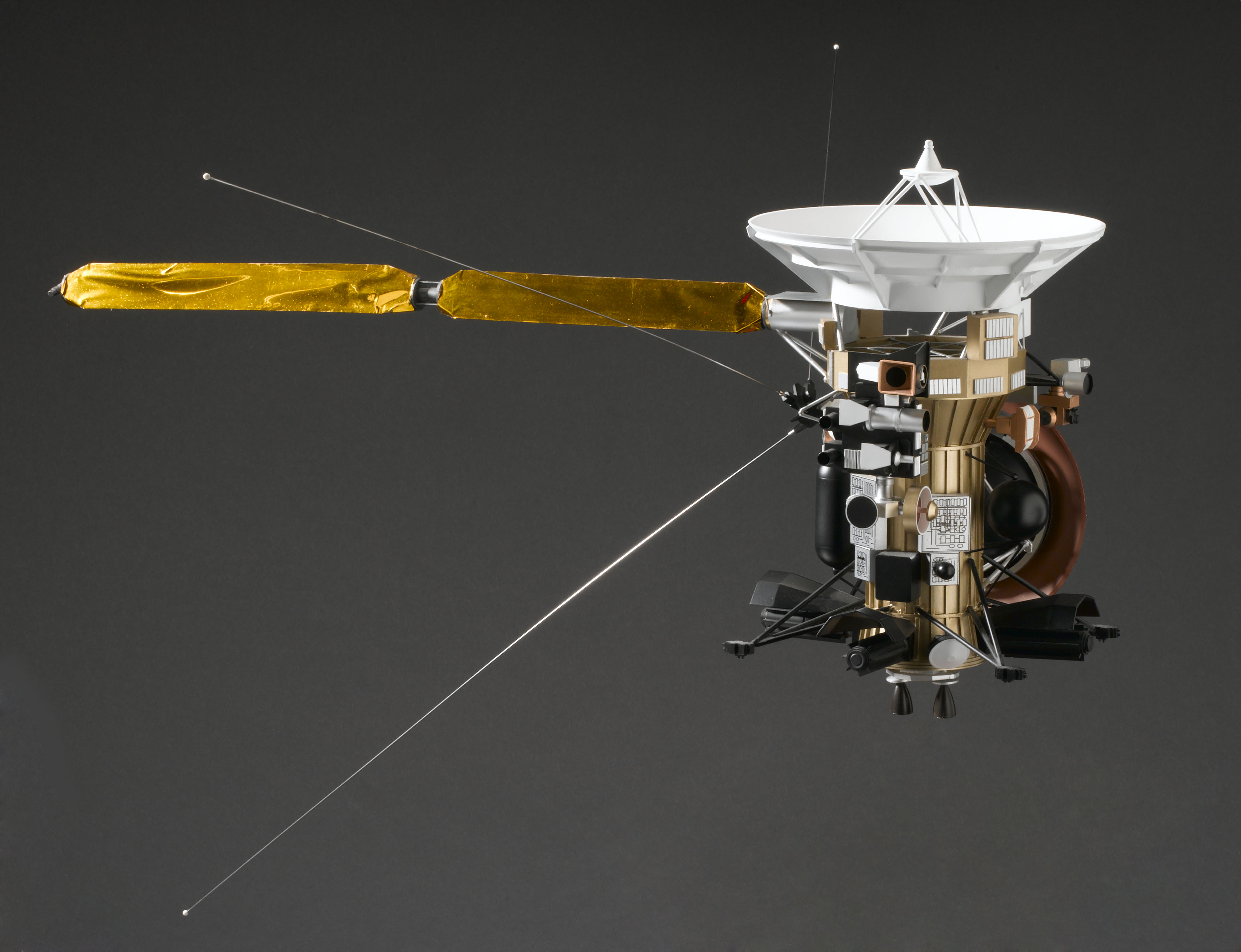 This picture shows a 1:25 scale model of the Cassini spacecraft.