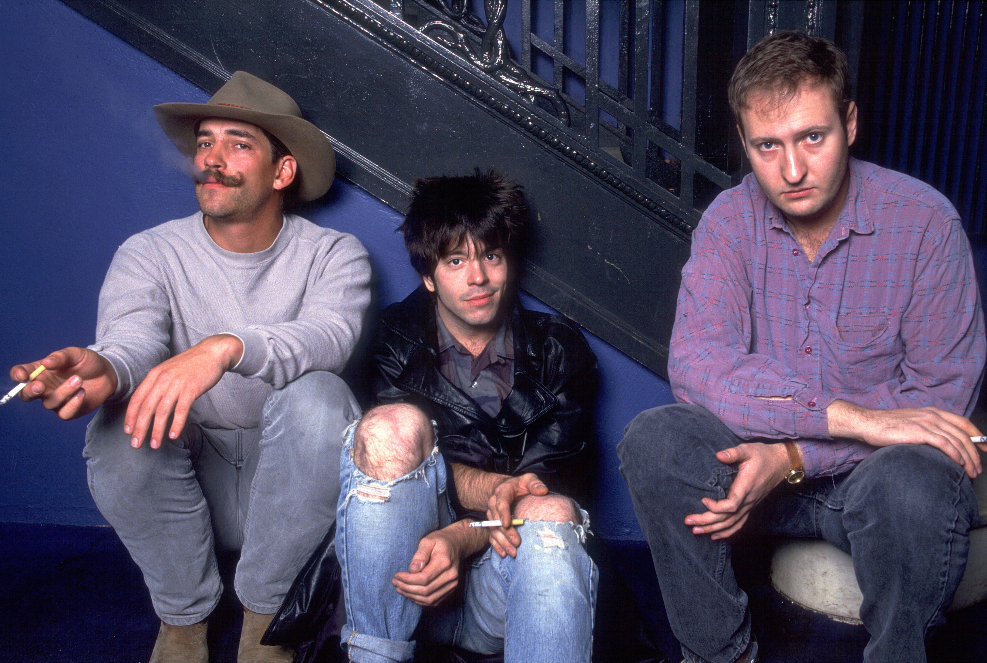 Greg Norton, Grant Hart and Bob Mould of Husker Du on 10/10/87 in Chicago, Il.