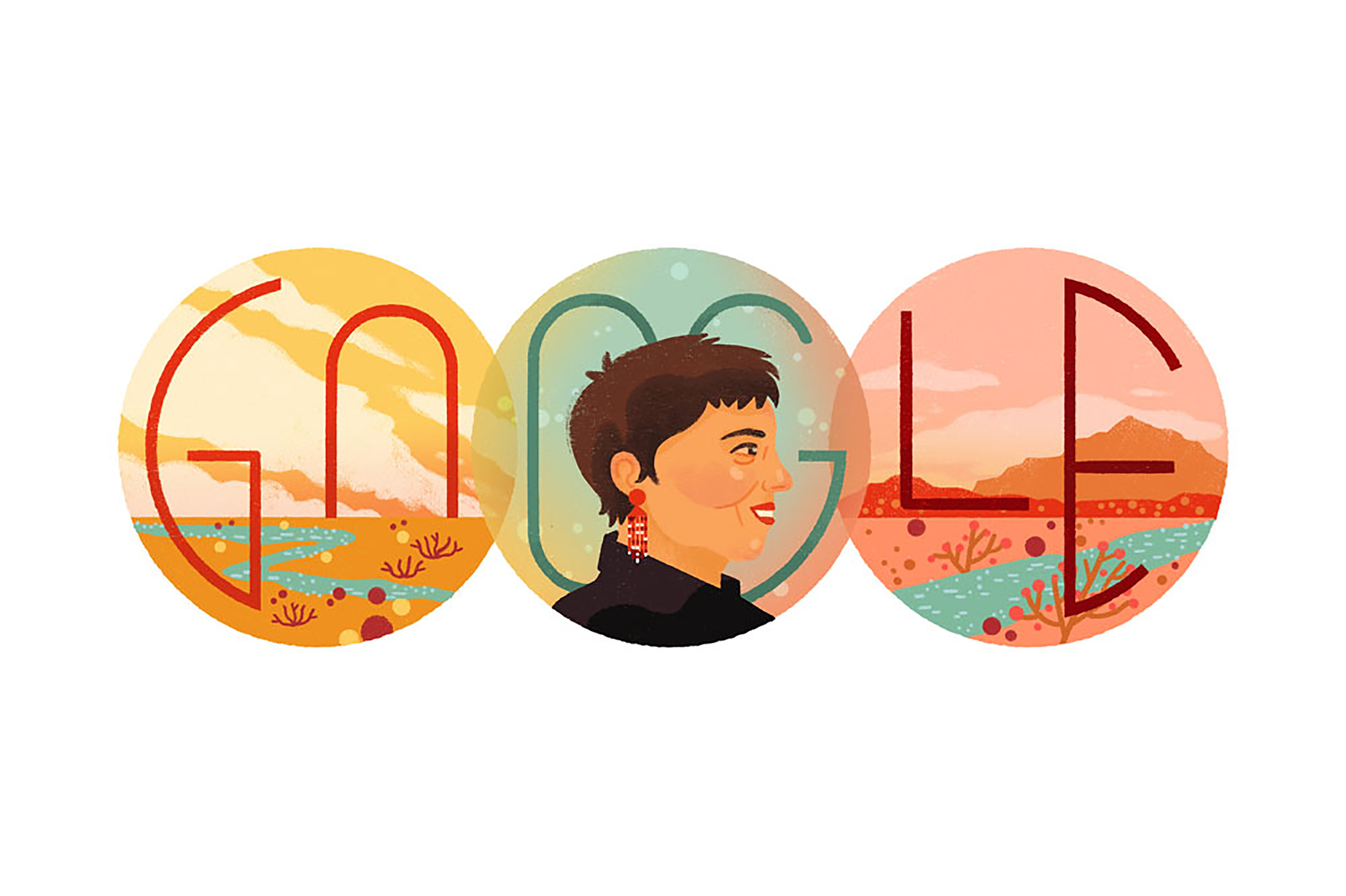 The Google Doodle for Gloria E. Anzaldúa's 75th Birthday, Sept. 26, 2017.