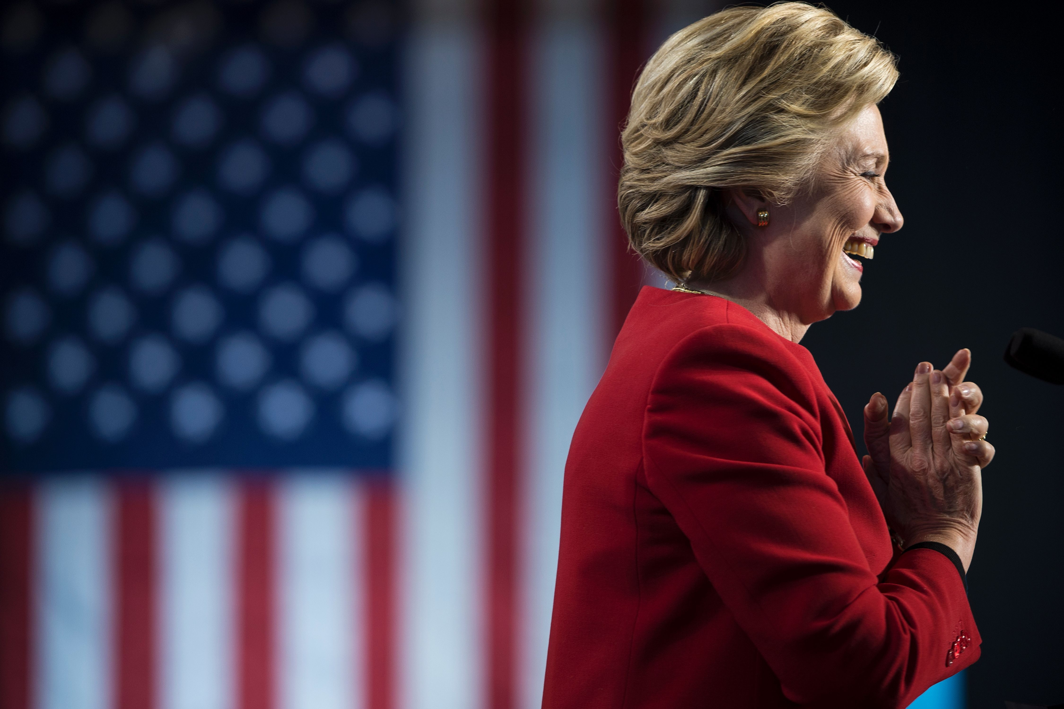 Democratic presidential nominee Hillary Clinton arrives for a rally at the Grand Valley State University Fieldhouse November 7, 2016 in Allendale, Michigan.