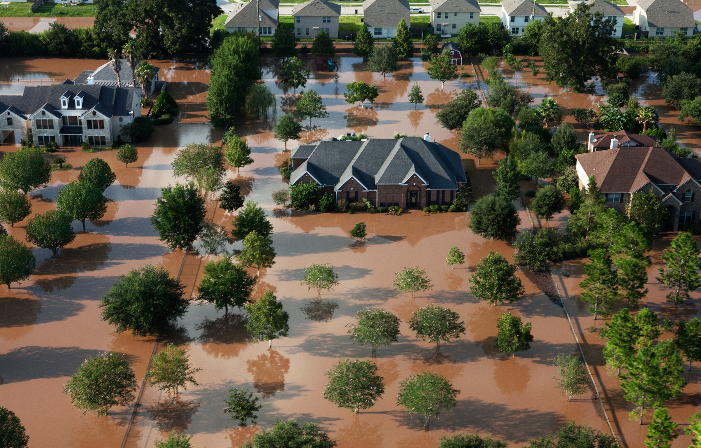 A view of Cinco Ranch, just west of Houston, after the storm; the floodwaters are a stew of toxins and bacteria