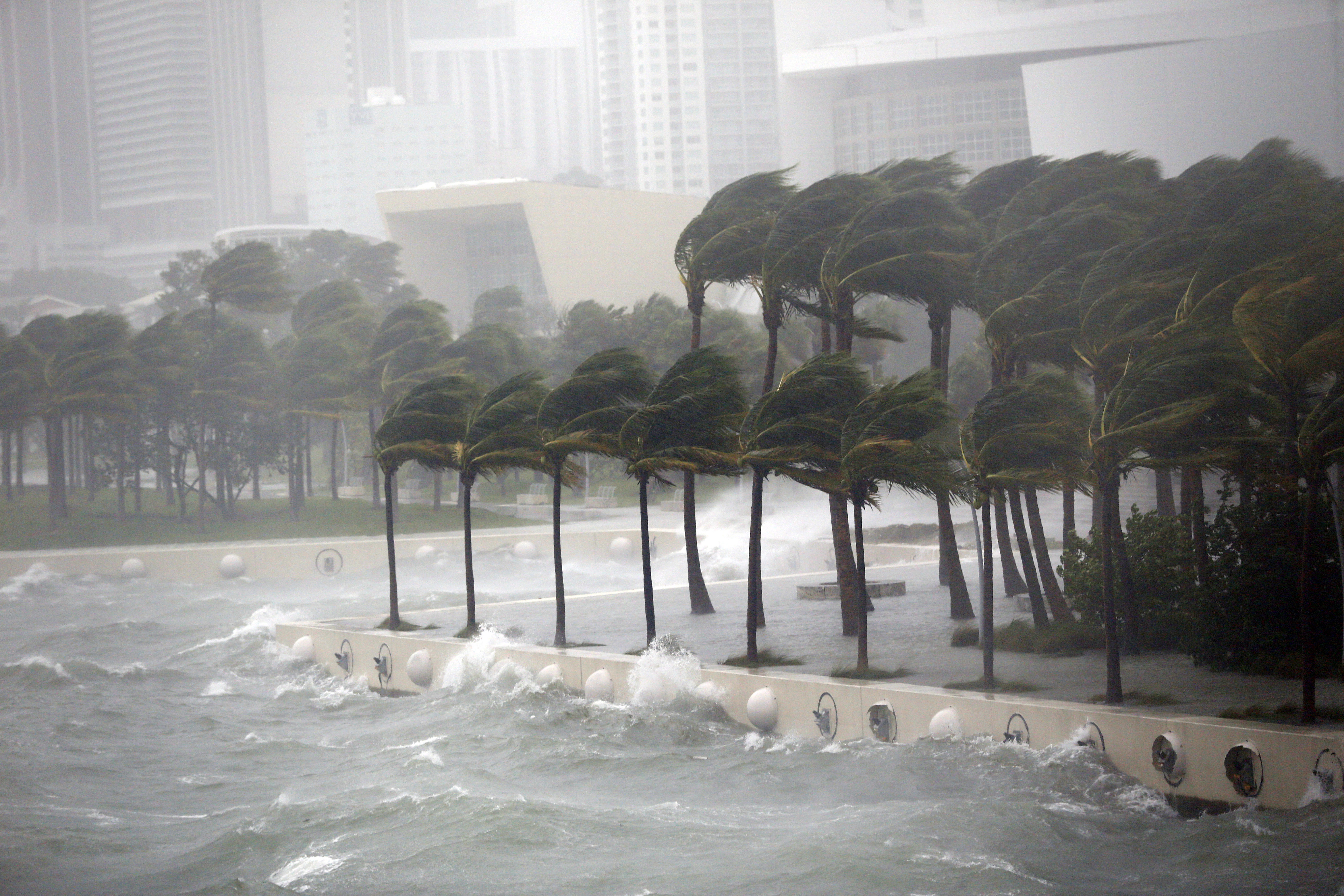 Hurricane Irma hits Biscayne Bay in Miami on Sept. 10, 2017