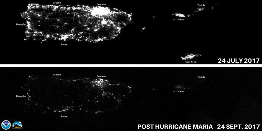 A combination of NOAA satellite images taken at night shows Puerto Rico in July, top, and on Sept. 24, 2017, after Hurricane Maria knocked out the island's power grid.
