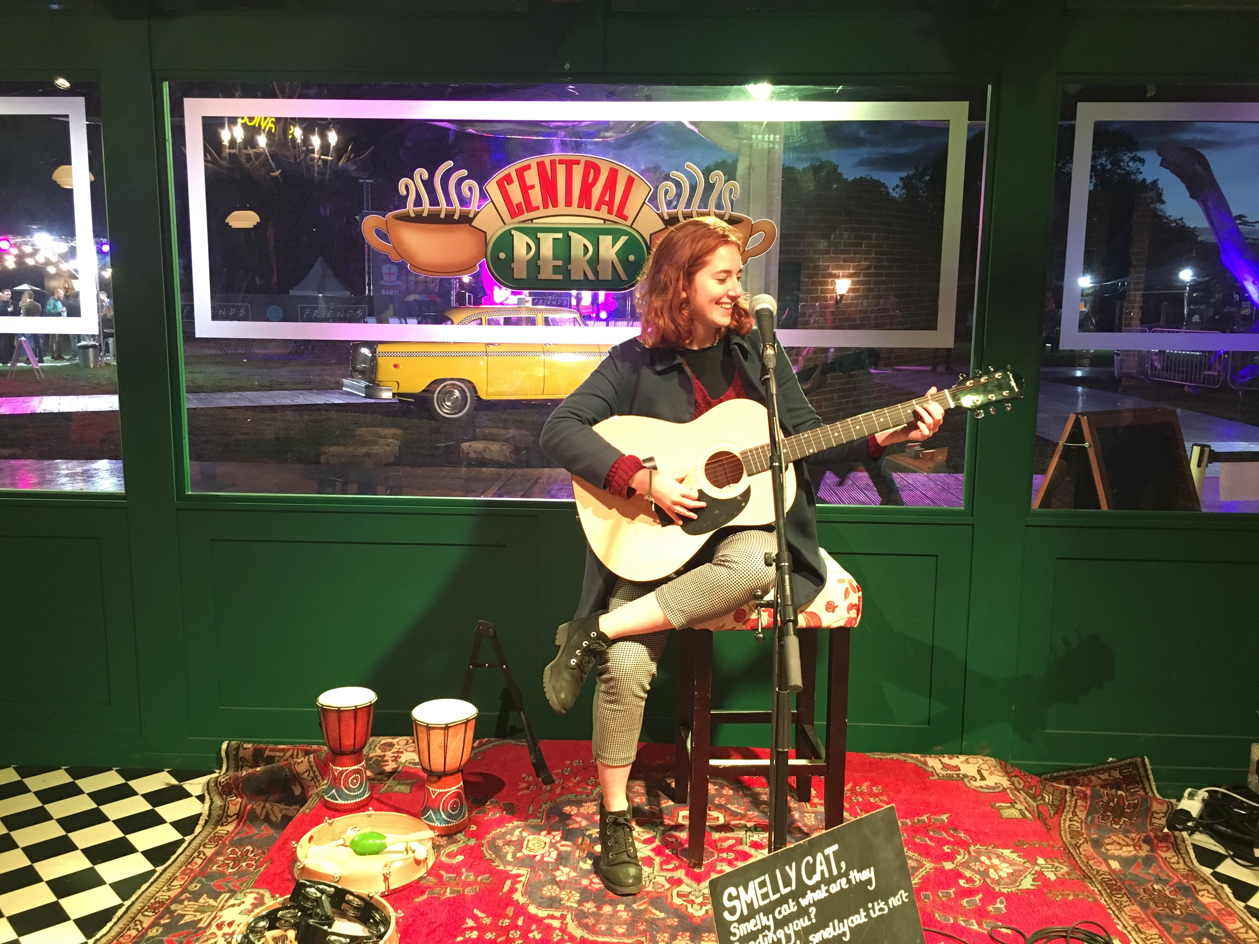 Singing 'Smelly Cat' in Central Perk.