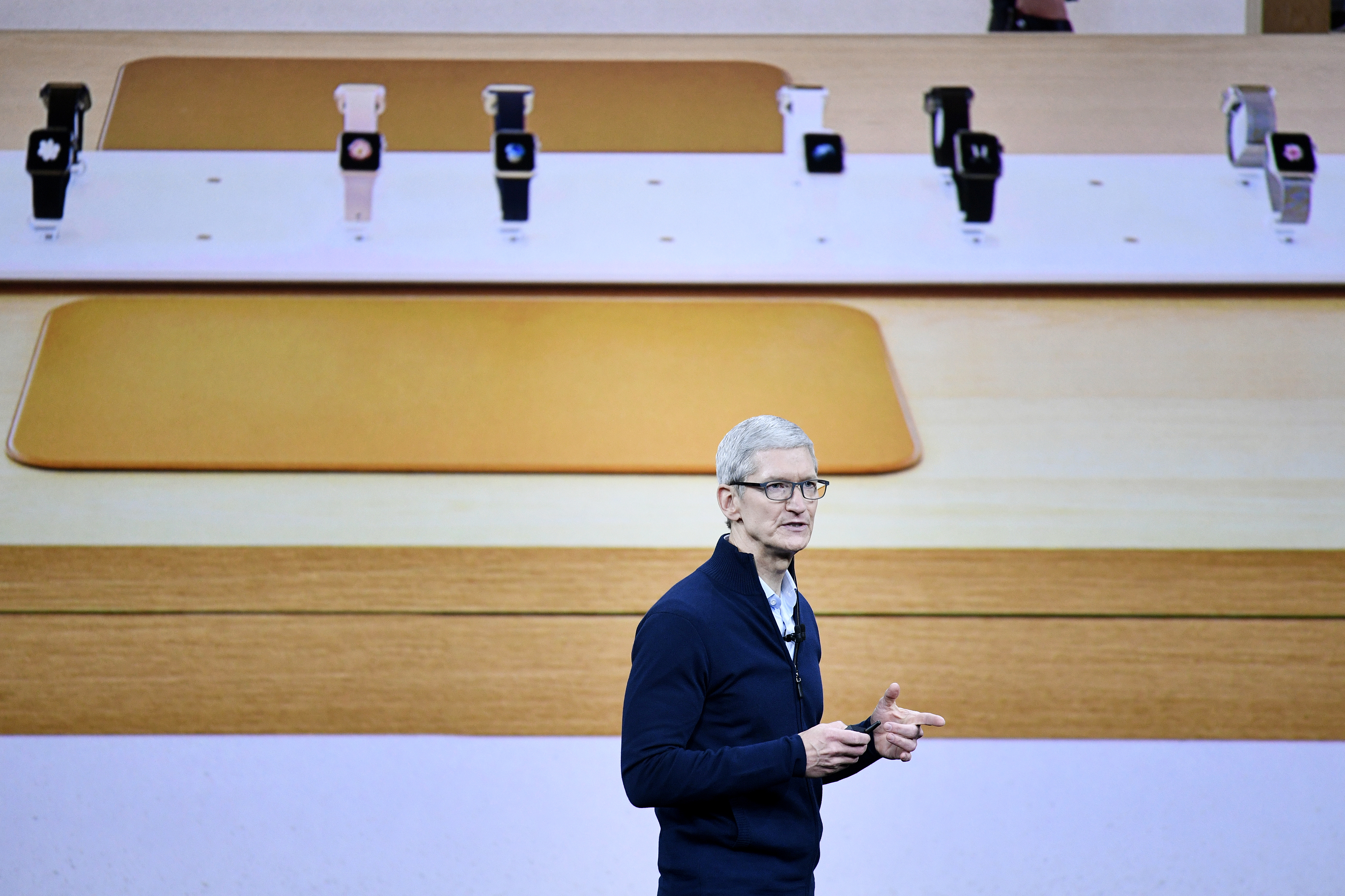 Tim Cook, chief executive officer of Apple Inc., speaks during an event at the Steve Jobs Theater in Cupertino, California on Sept. 12, 2017.