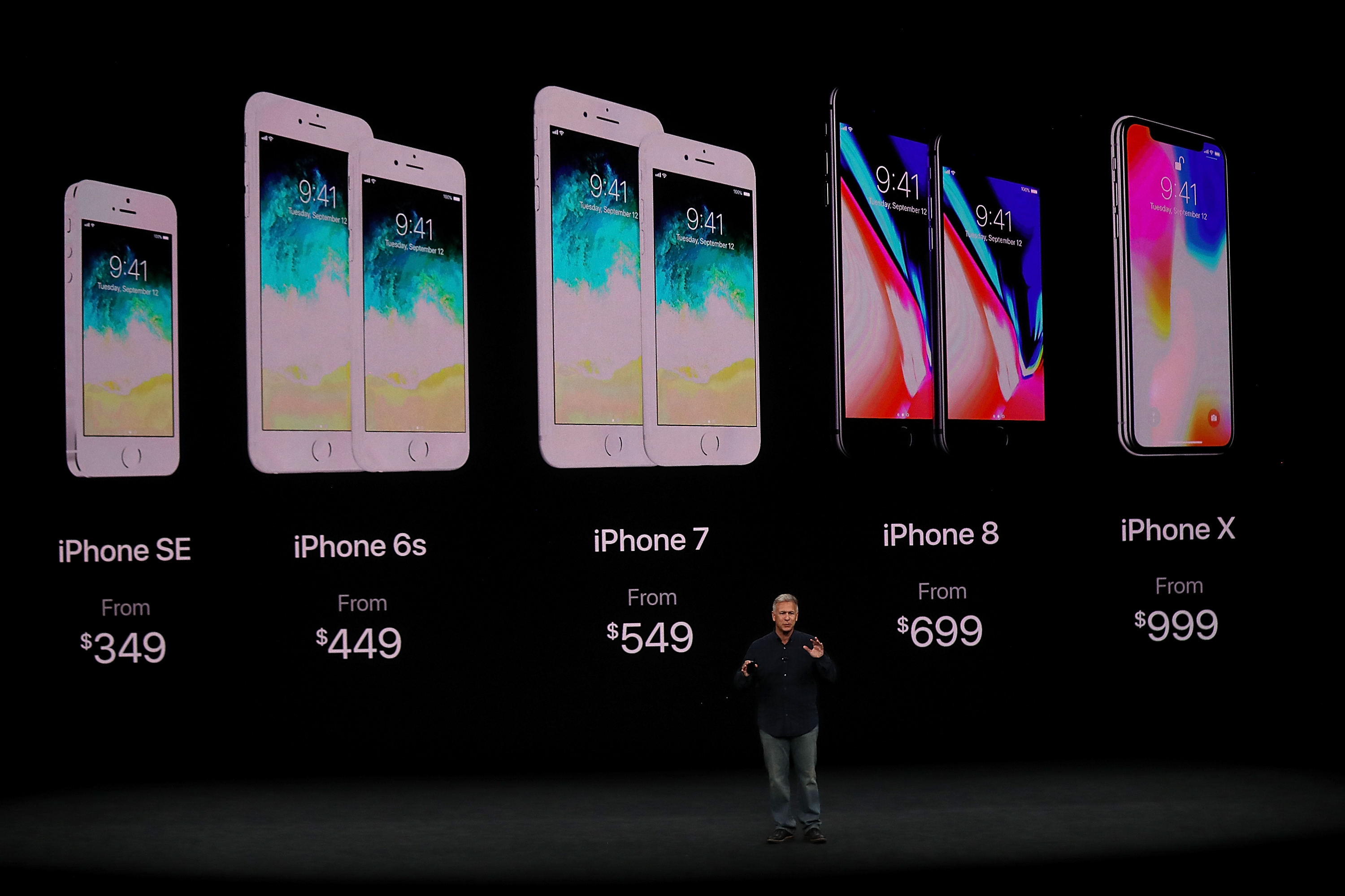 Apple senior vice president Phil Schiller introduces new iPhones (and new pricing) on the Apple Park campus on September 12, 2017.