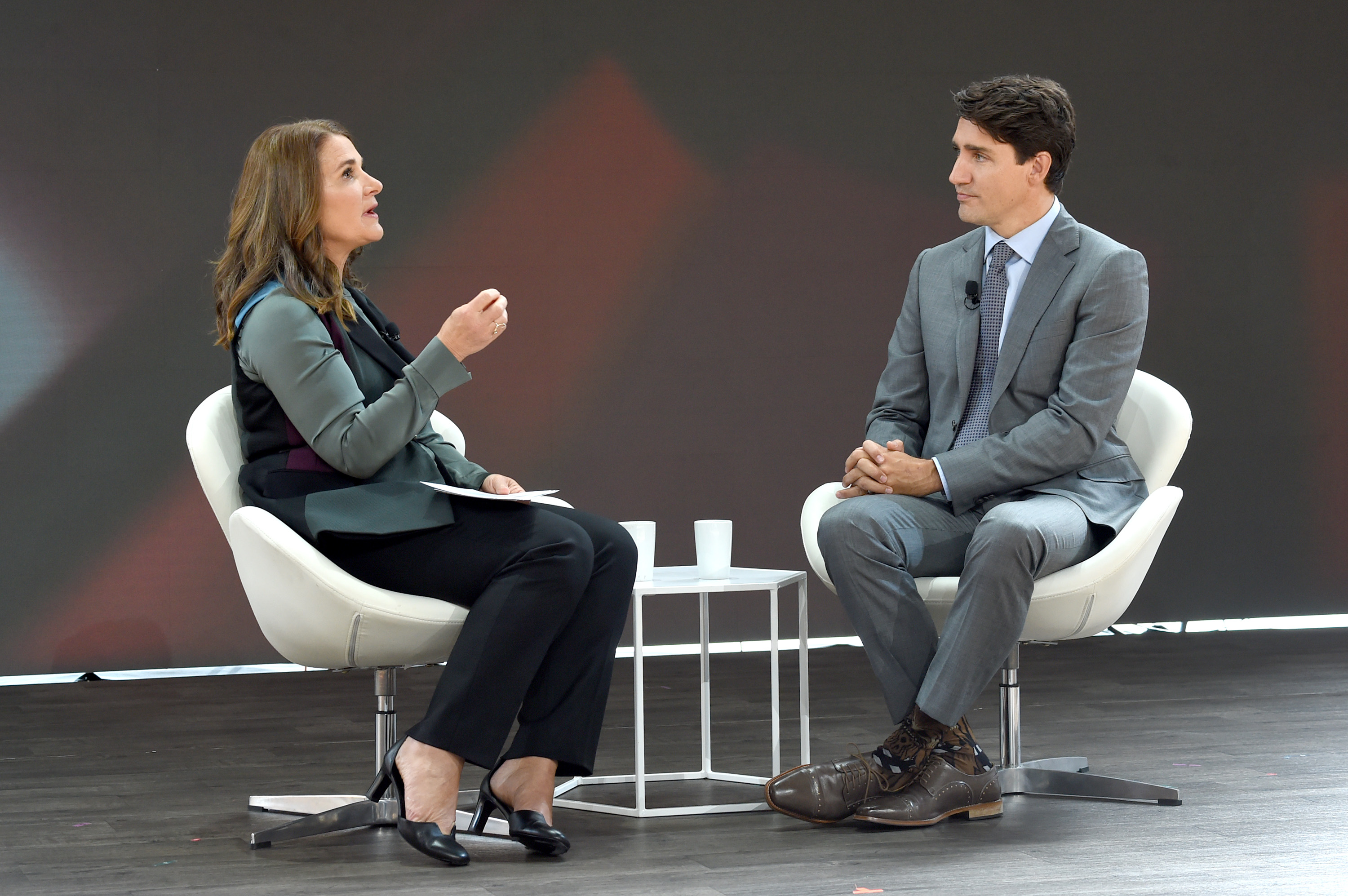 Bill & Melinda Gates Foundation co-founder Melinda Gates and Canadian Prime Minister Justin Trudeau speak at Goalkeepers 2017, at Jazz at Lincoln Center on September 20, 2017 in New York City.