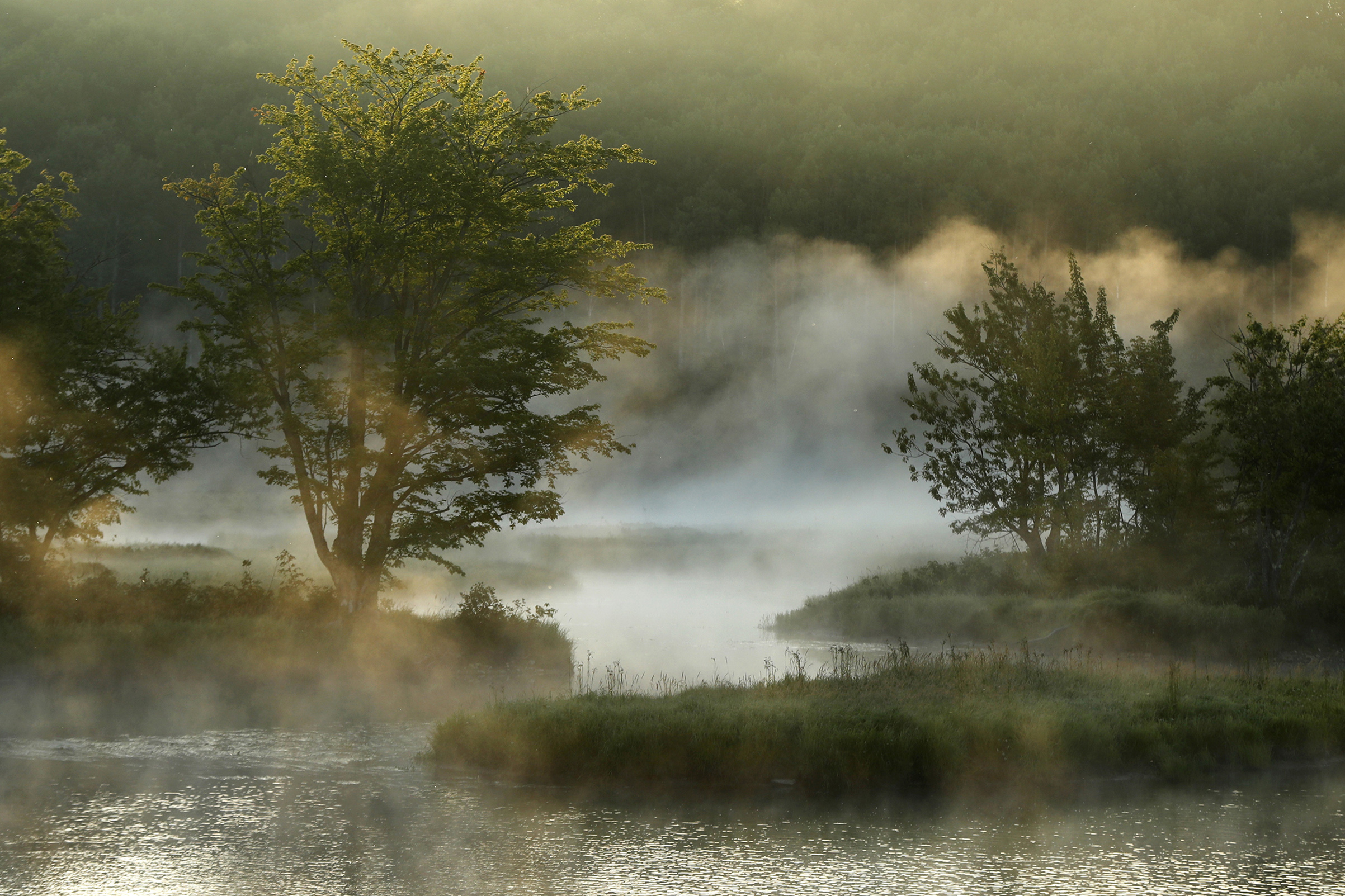 Fog rises from the Penobscot River's East Branch in the Katahdin Woods and Waters National Monument near Patten, Maine, on Aug. 10, 2017.