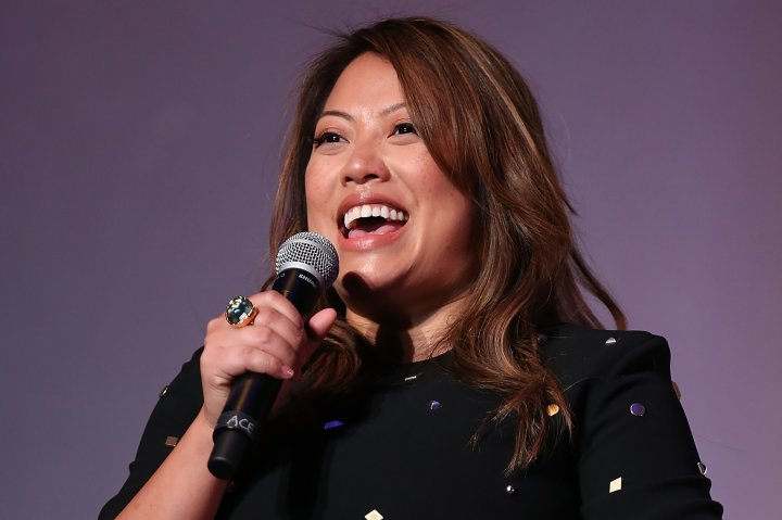 "Kulap Vilaysack speaks onstage during the premiere of Seeso's ""Bajillion Dollar Properties"" Season 2 at The Theatre at Ace Hotel on Oct. 5, 2016 in Los Angeles."