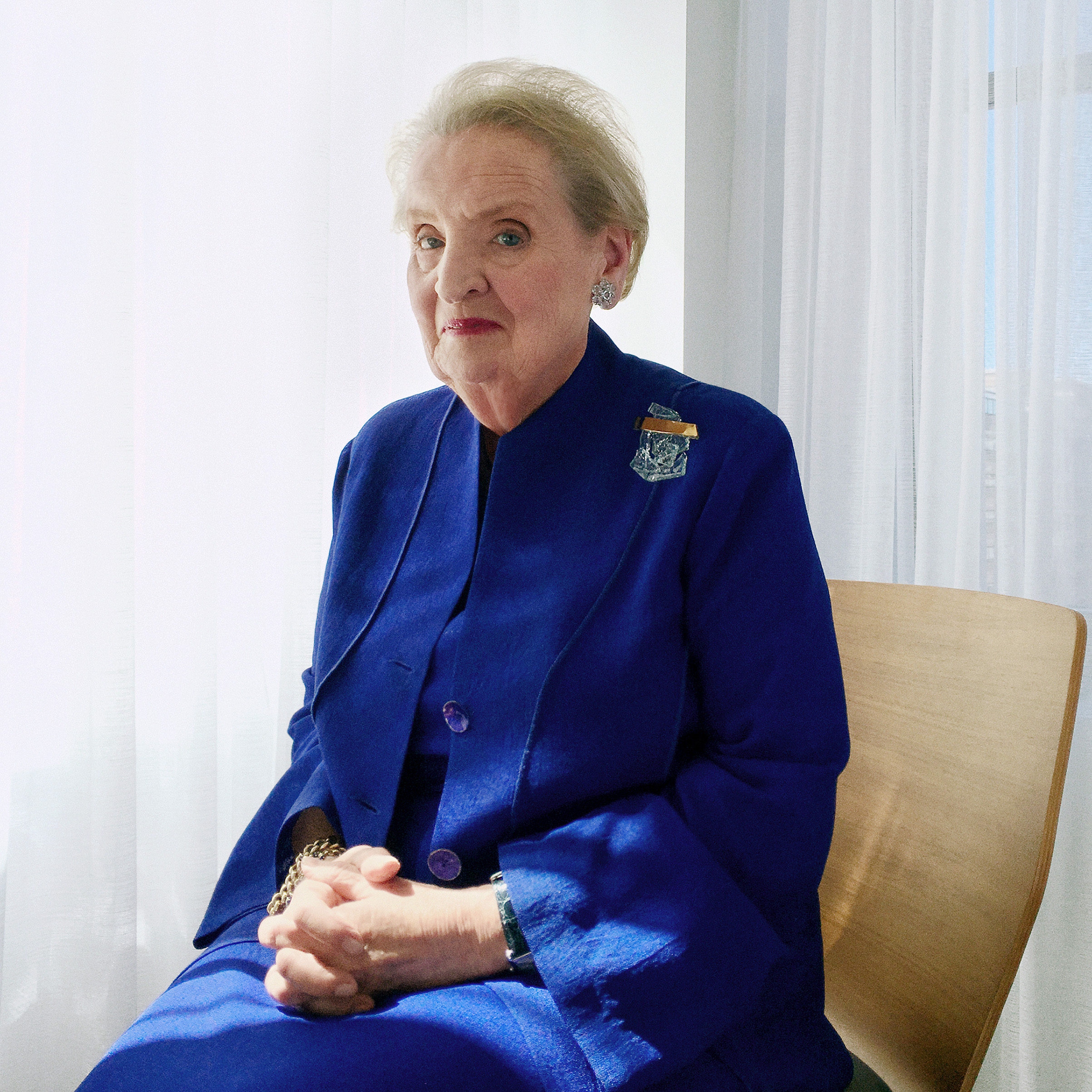 Portrait of Madeleine Albright, photographed in her sitting room, opposite her office in Washington, DC, September 12, 2016.