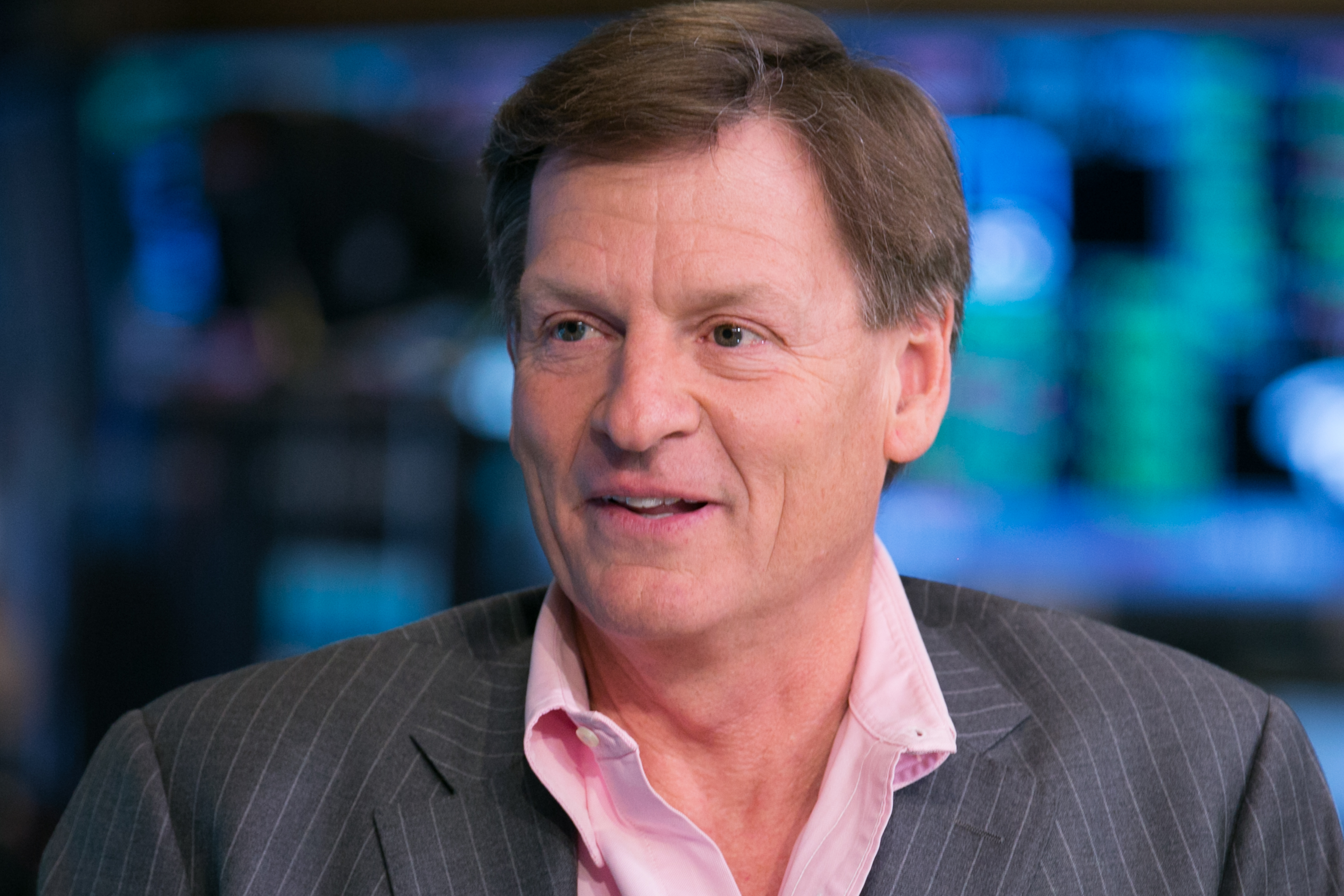 Michael Lewis, bestselling author of  Moneyball  and  Flash Boys,   in an interview at the NYSE on March 23, 2015.
