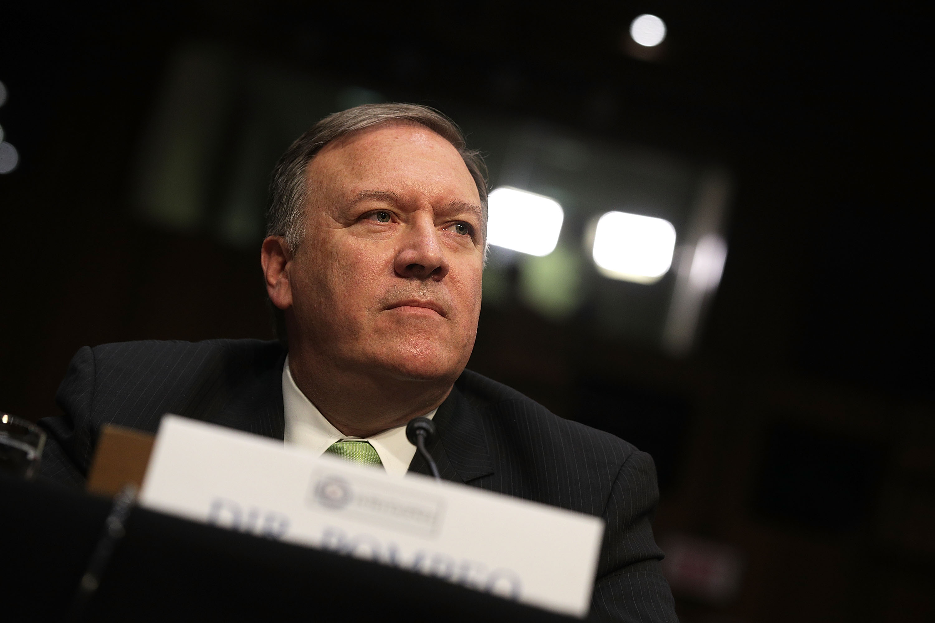 Central Intelligence Agency Director Mike Pompeo testifies before the Senate Intelligence Committee with the other heads of the U.S. intelligence agencies in the Hart Senate Office Building on Capitol Hill May 11, 2017 in Washington, D.C.