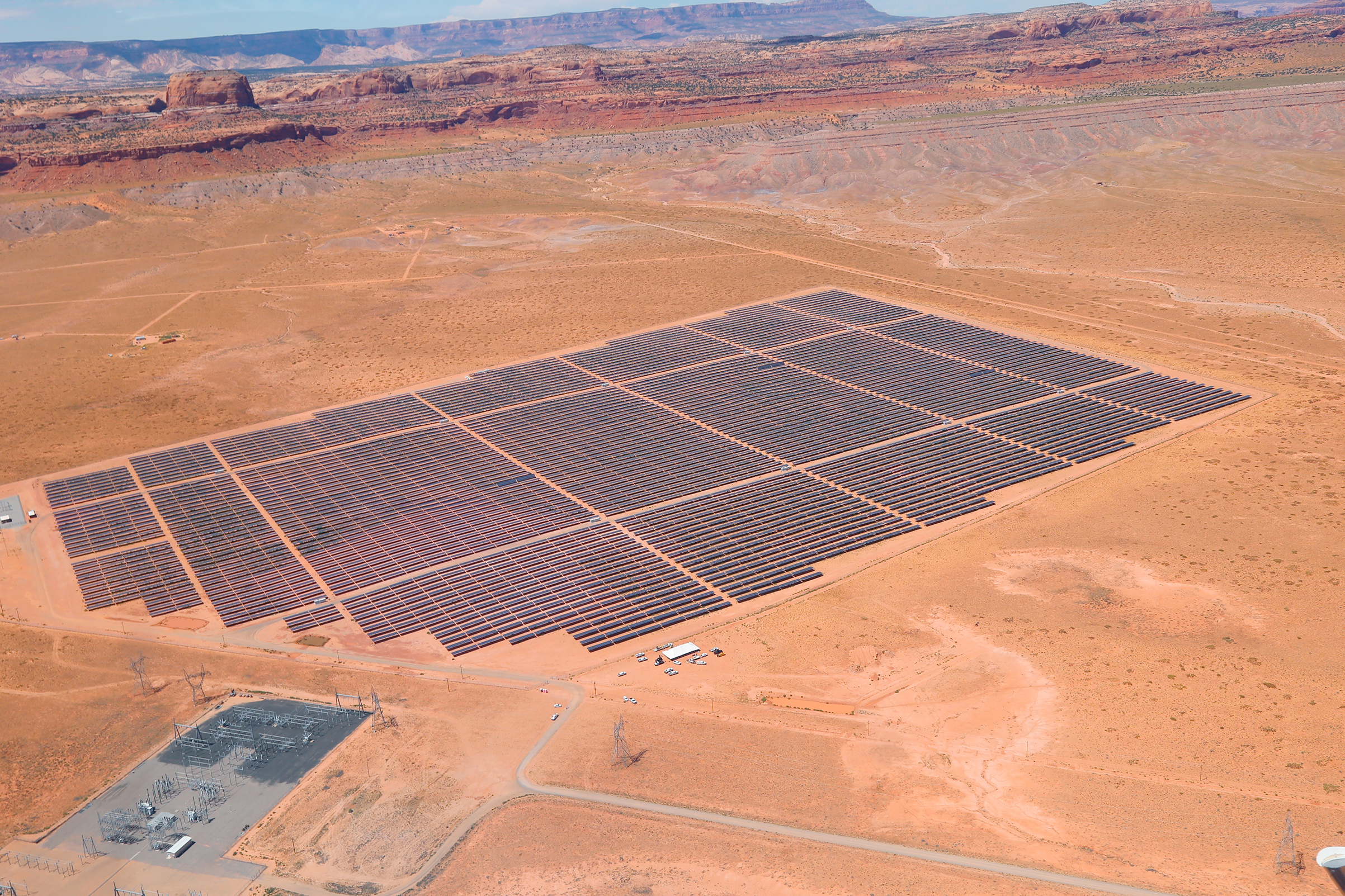 A solar facility on Navajo Nation land along the Arizona-Utah border.