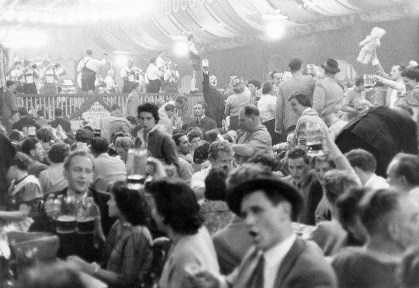 Germany, Bavaria, Munich. Oktoberfest: Beer tent. 1968